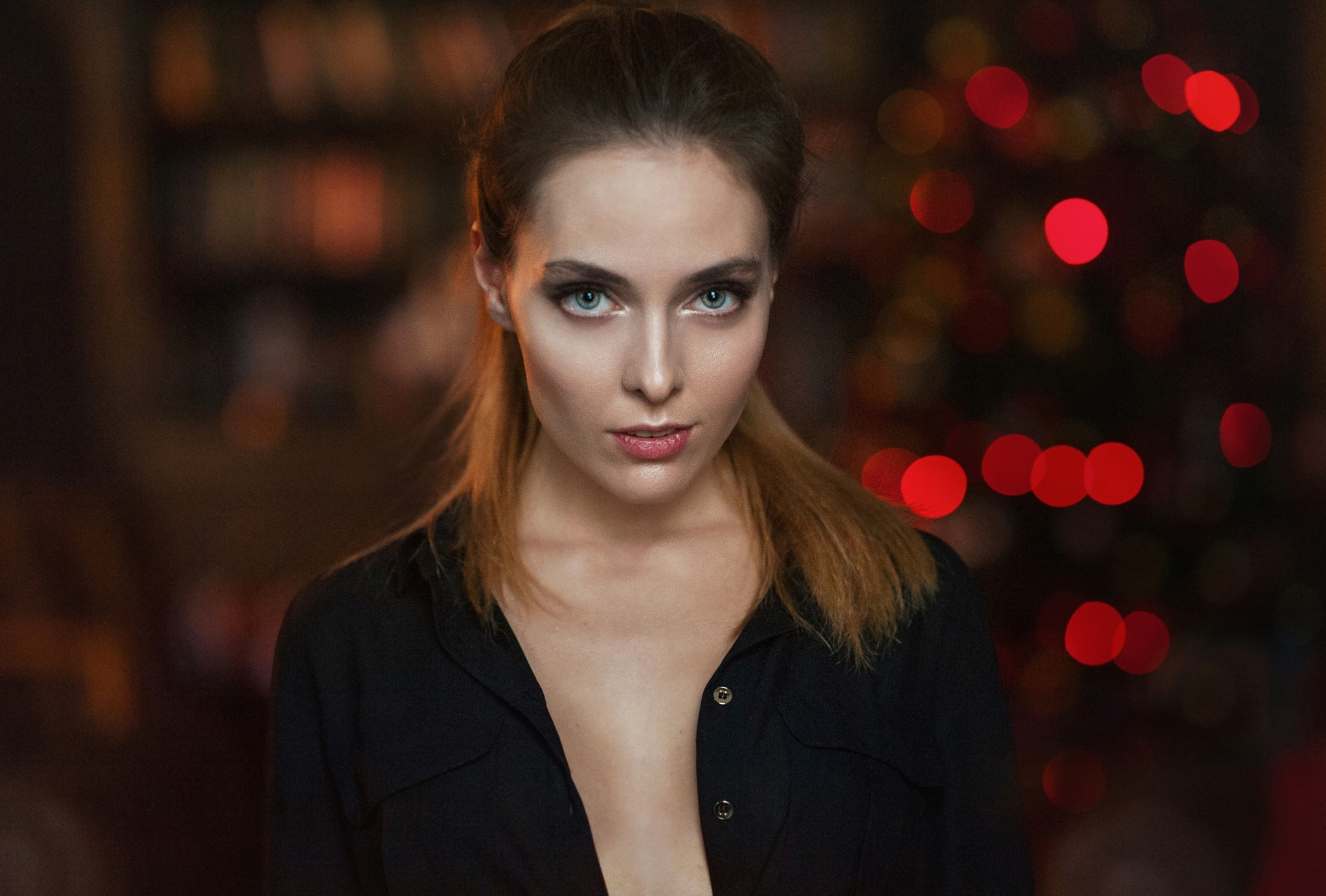 People 2048x1384 Amina Katinova women face portrait depth of field Maxim Maximov