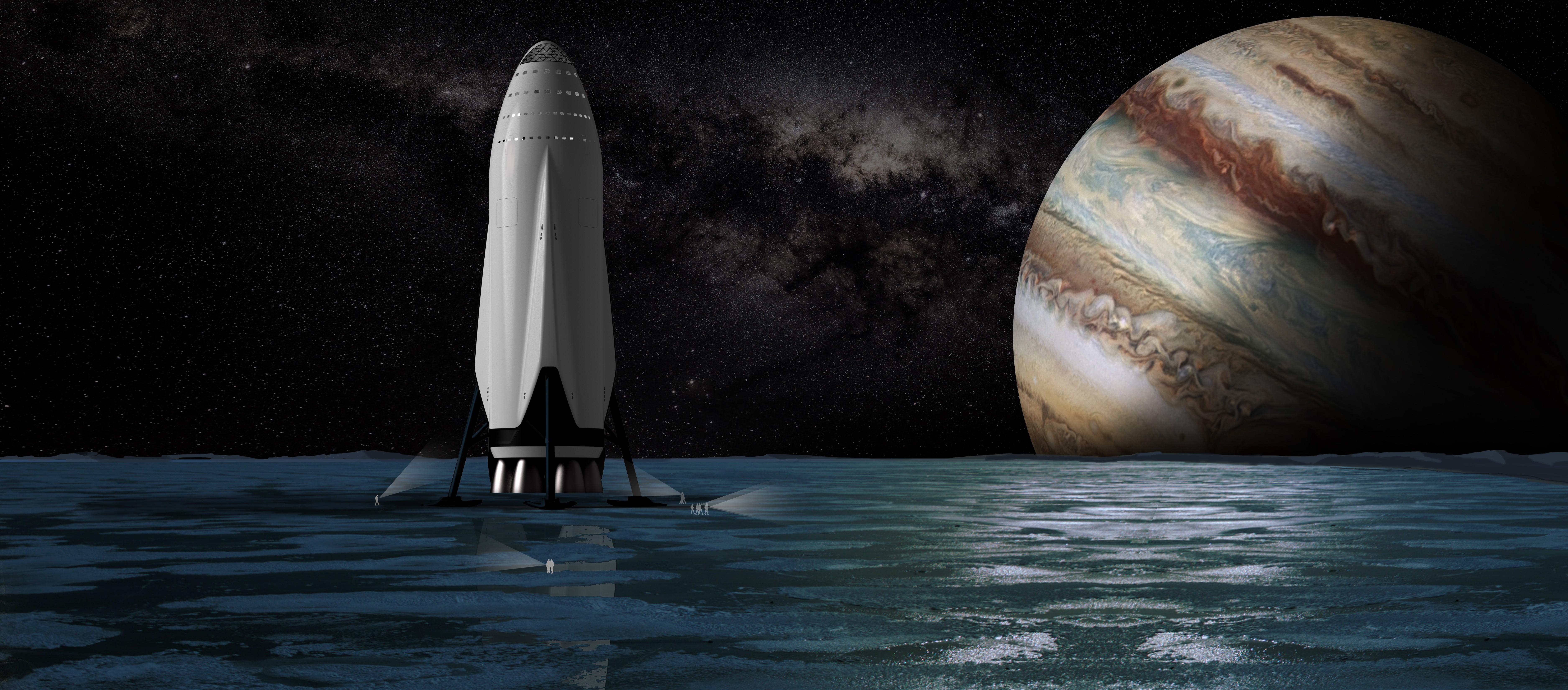 General 7500x3300 SpaceX Interplanetary Transport System rocket space Jupiter Moon