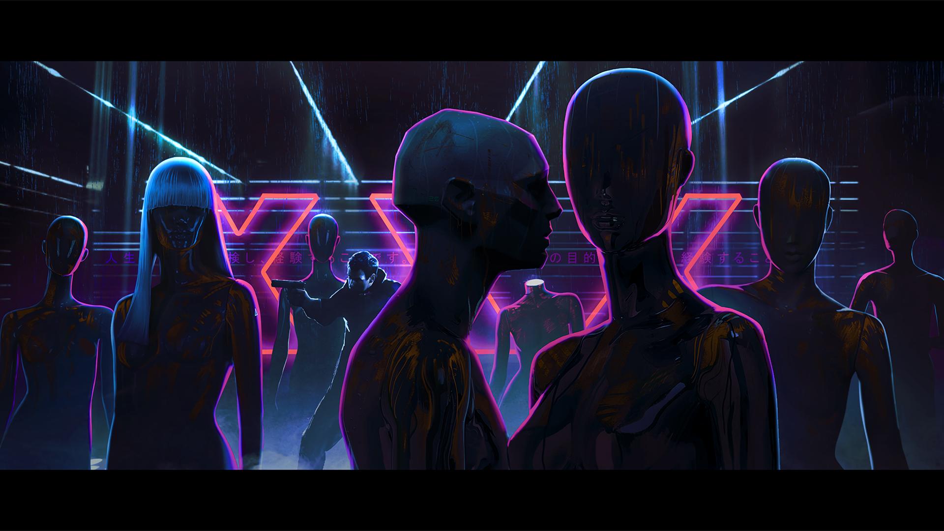 General 1920x1080 digital art neon futuristic cyber