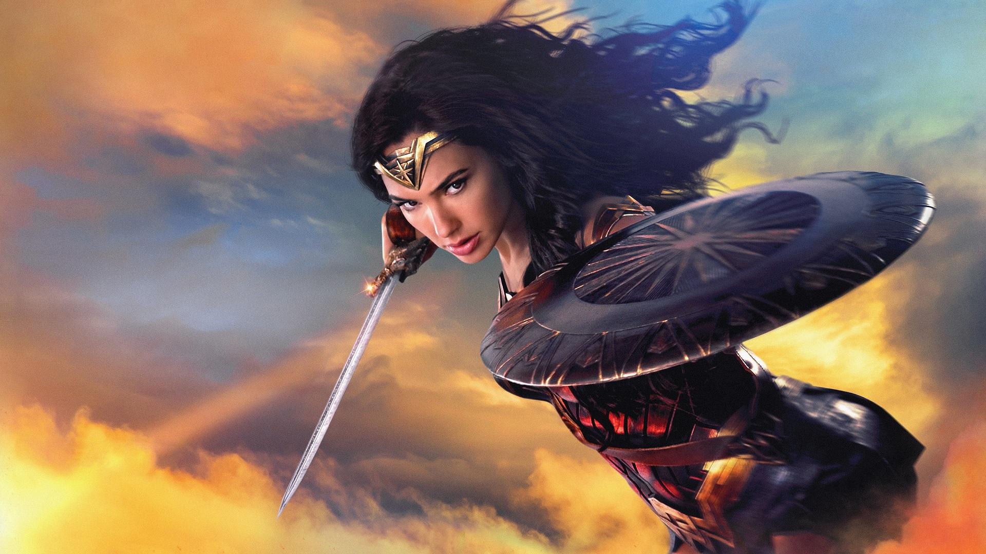 People 1920x1080 Wonder Woman DC Comics Gal Gadot sword shield women