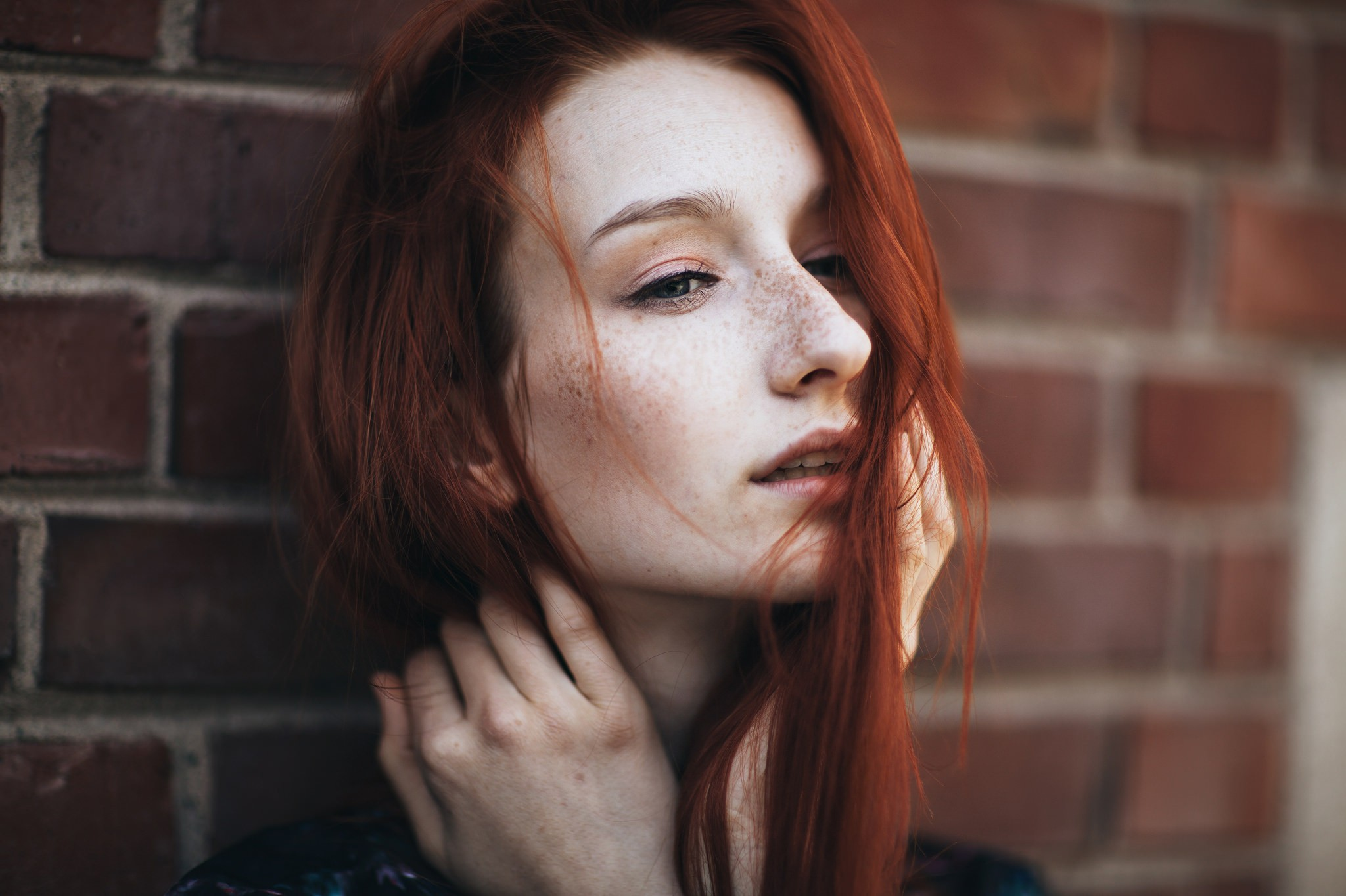 People 2048x1365 women redhead bricks freckles hair in face looking away pale open mouth face
