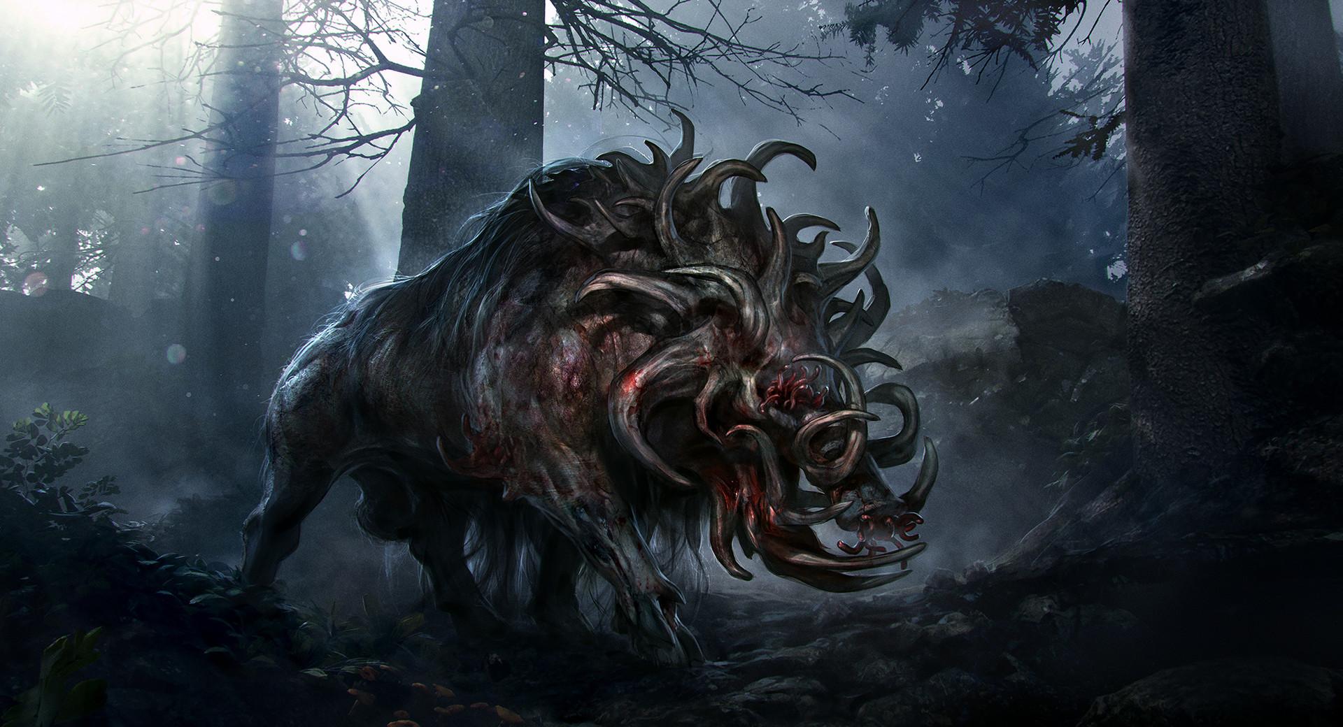 General 1920x1040 digital art creature forest blood Princess Mononoke anime Studio Ghibli boars demon demon horns