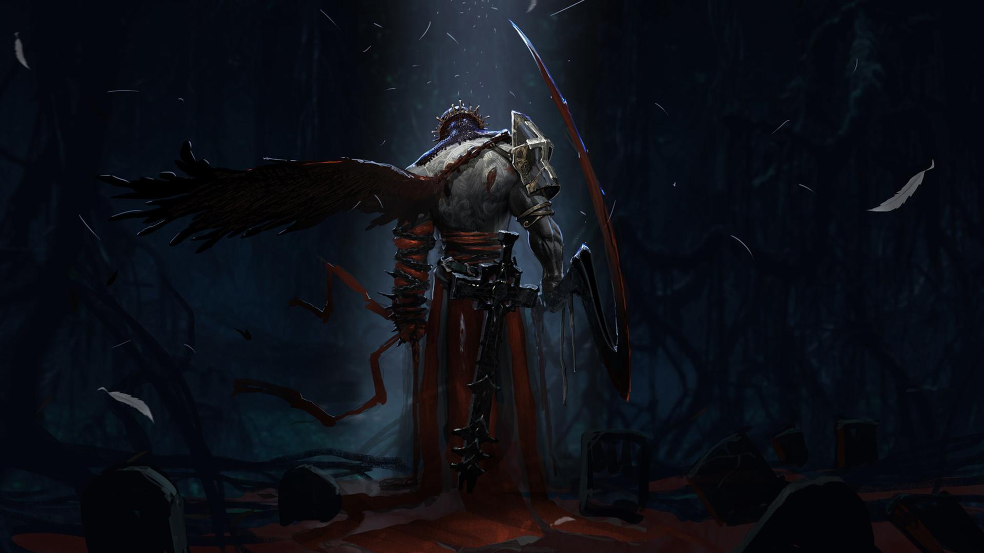 General 1920x1080 Dante cemetery crown cross tombstones night armor dark red blood white Dante's Inferno video games