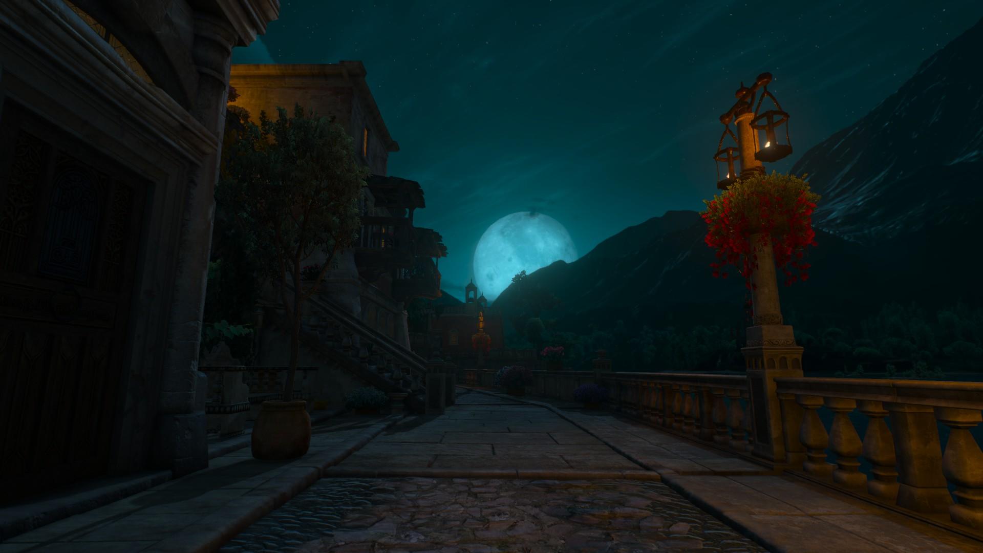General 1920x1080 The Witcher 3: Wild Hunt Moon night video games The Witcher The Witcher 3: Wild Hunt - Blood and Wine DLC town