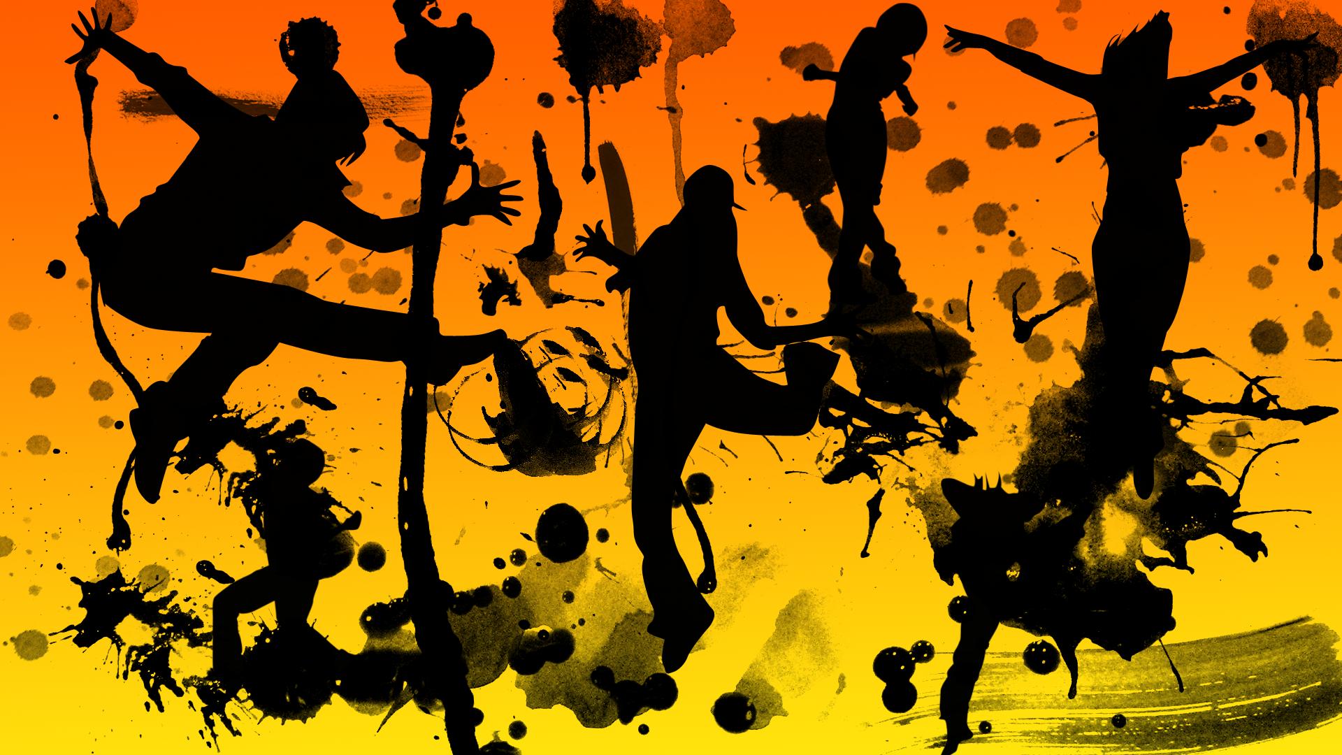 General 1920x1080 Random Access Memories artwork anime silhouette orange yellow black illustration