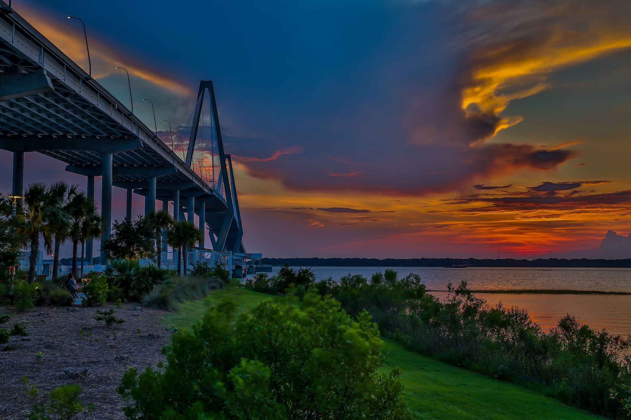 General 2048x1365 photography nature clouds landscape sunset sky bridge grass plants trees river lights South Carolina