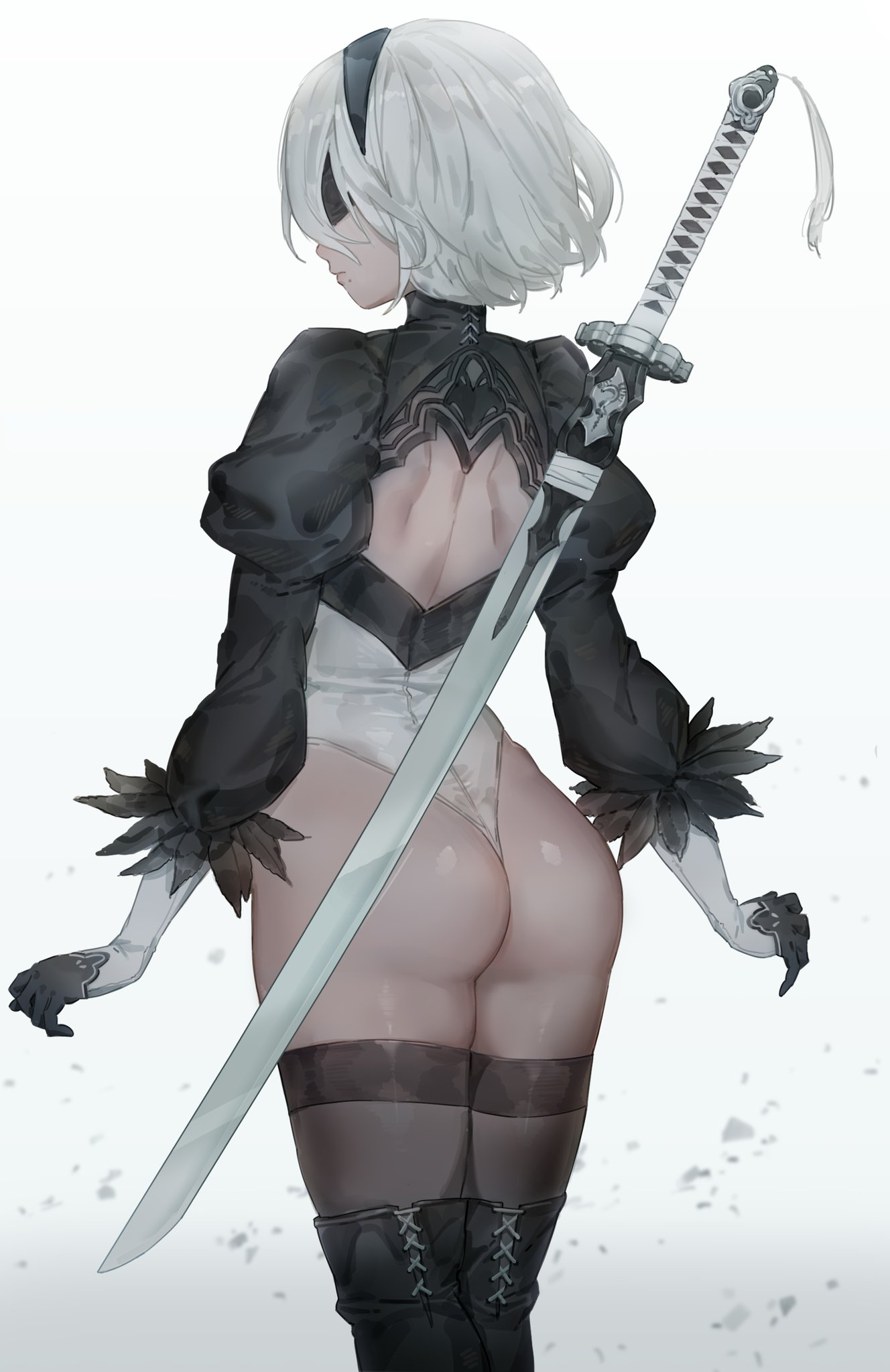 Anime 1328x2048 Nier: Automata 2B (Nier: Automata) Yorha unit no.2 type b anime girls sword katana blindfold portrait display ass NieR