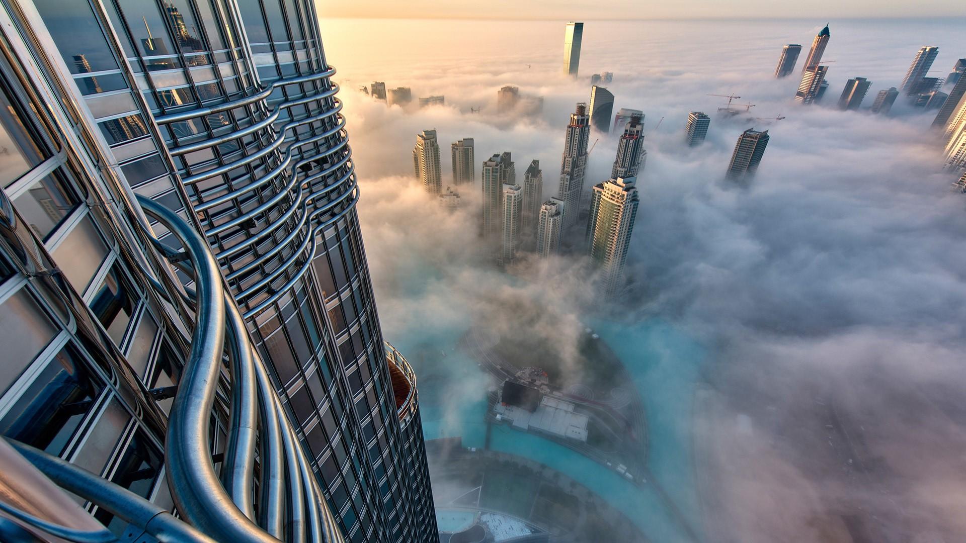 General 1920x1080 aerial view bird's eye view skyscraper cityscape clouds horizon Dubai United Arab Emirates glass Burj Khalifa
