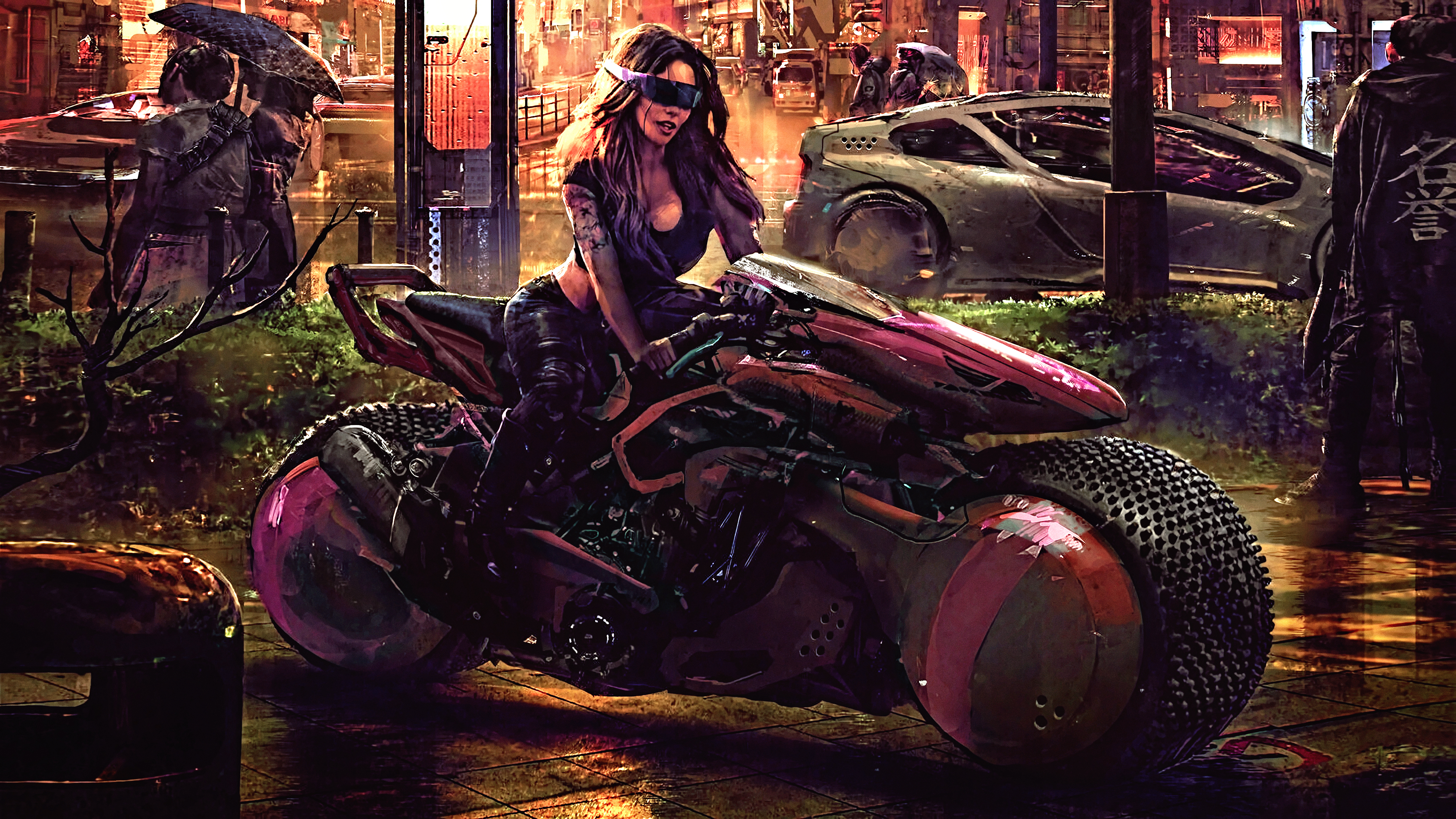 General 3840x2160 futuristic science fiction digital art concept art artwork fantasy art fan art 3D CGI cyberpunk cyber painting fantasy girl women vehicle city urban cityscape futuristic city closeup realistic Eddie Mendoza car motorcycle