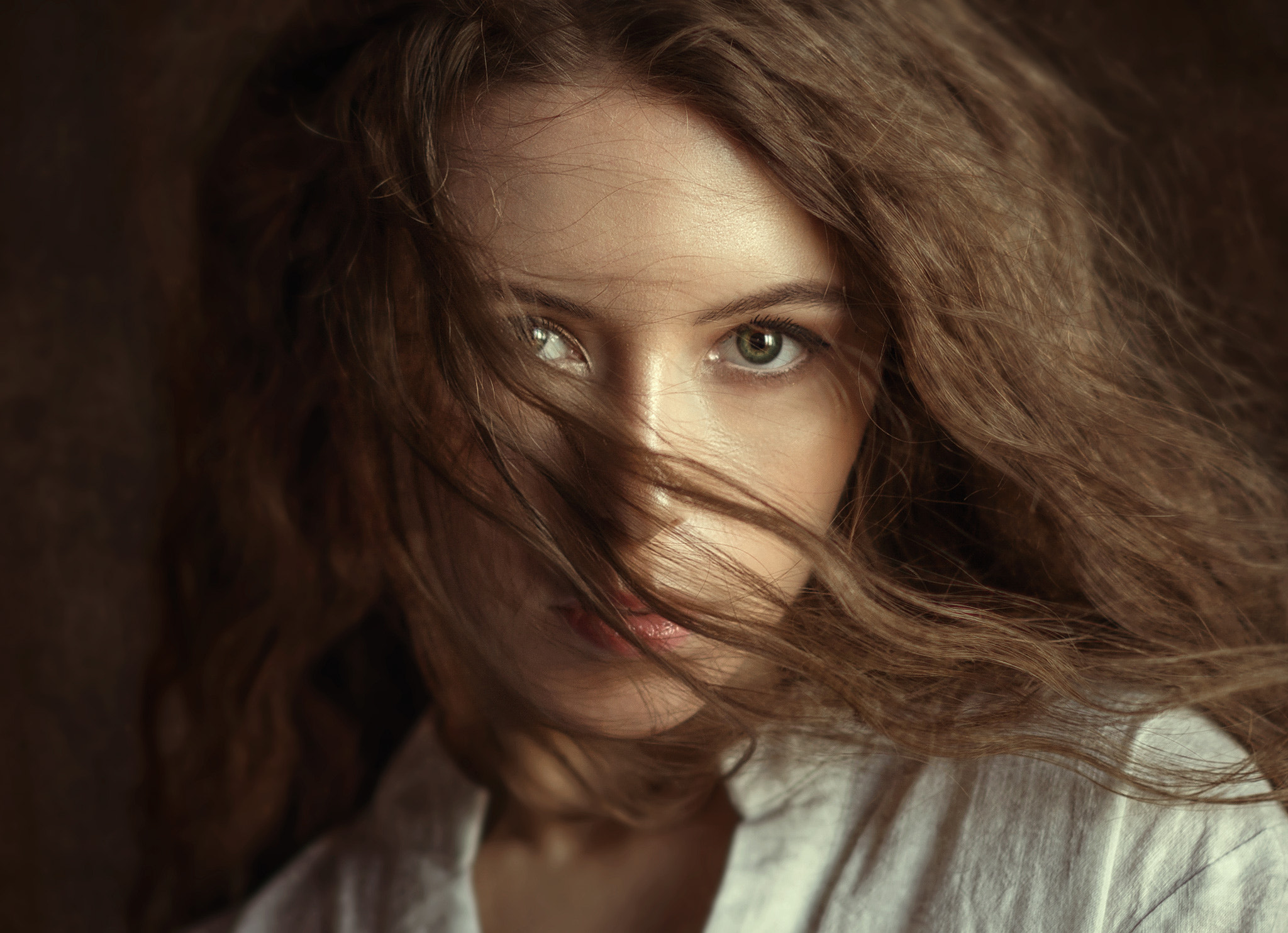 People 2048x1484 Albert Lesnoy women Viki Virgo brunette long hair wavy hair wind looking at viewer white clothing portrait Viktoria Makarenko