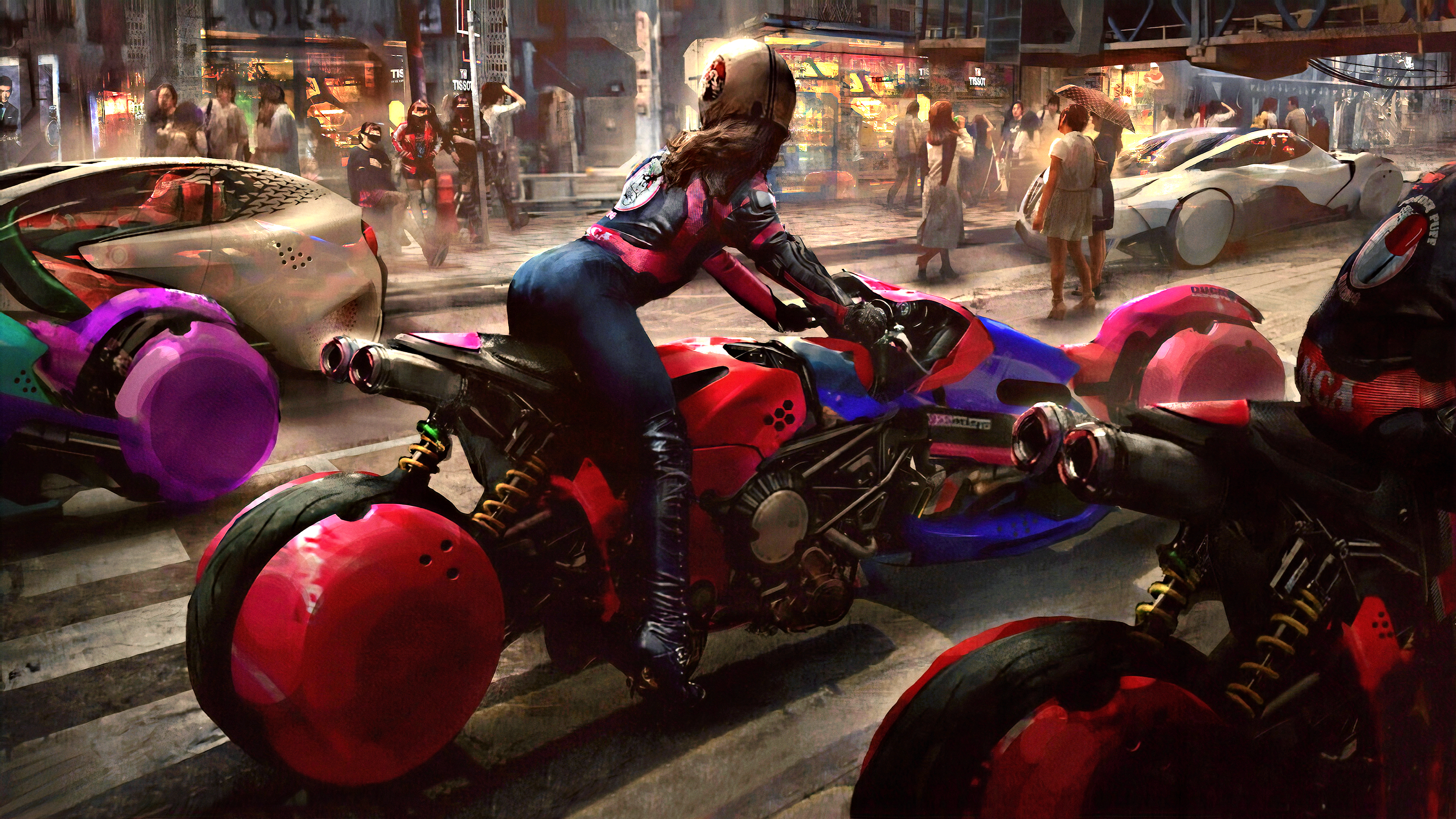 General 3840x2160 science fiction digital art concept art artwork futuristic fantasy art fan art 3D CGI cyberpunk cyber city fantasy girl women cityscape street urban road vehicle Eddie Mendoza