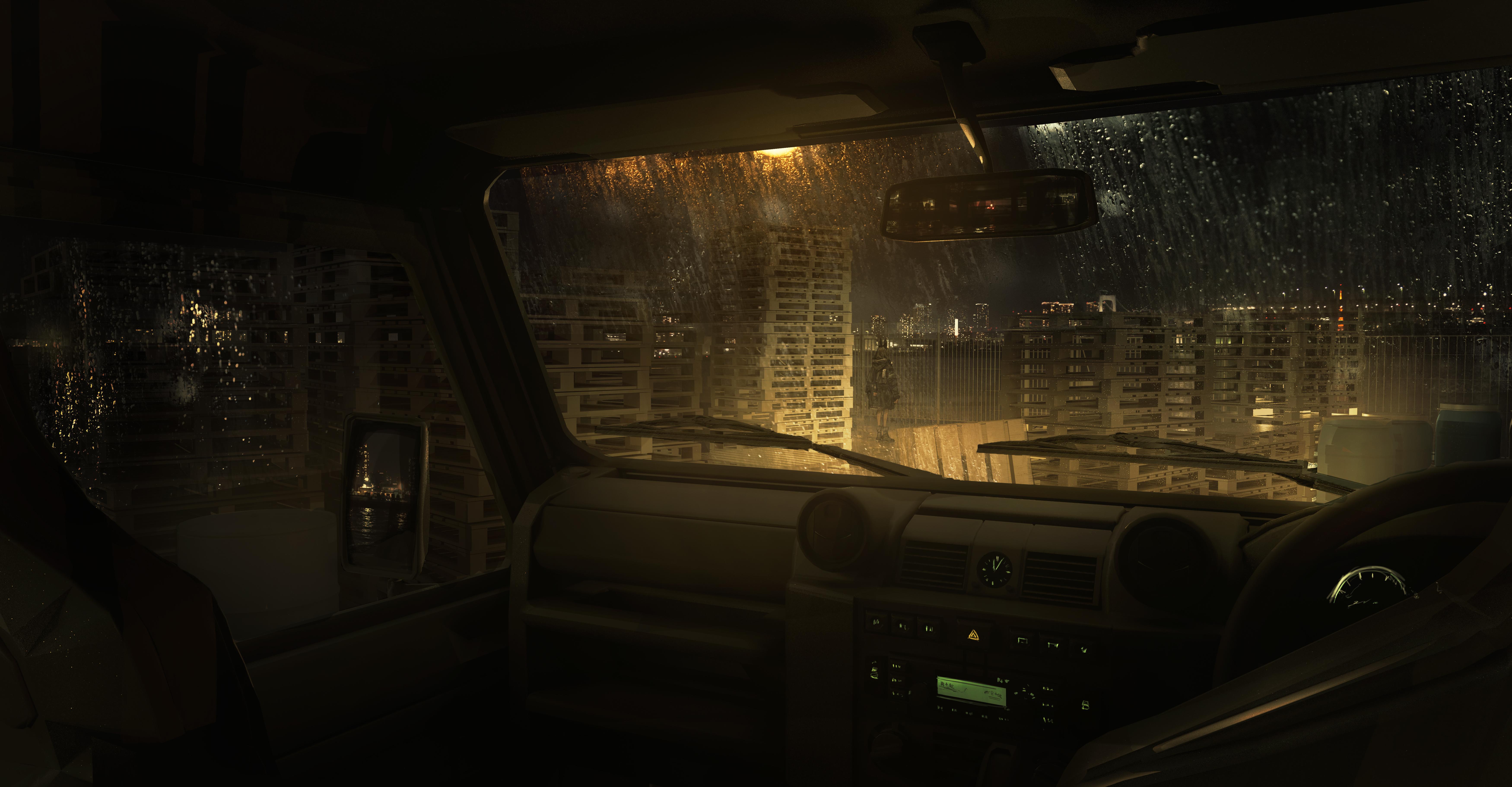 Anime 7000x3646 car inside a car rain reflection city city lights standing _LM7_