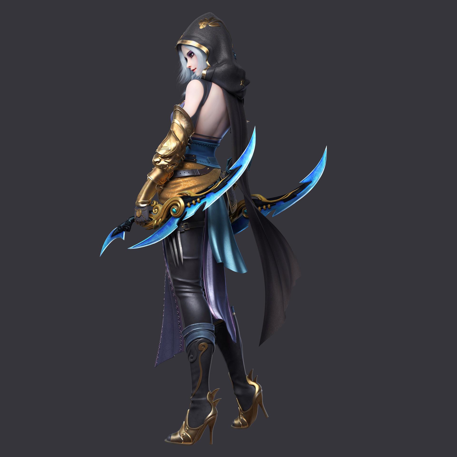 General 1920x1920 Yue Wang CGI hoods weapon blades women silver hair high heels armor warrior