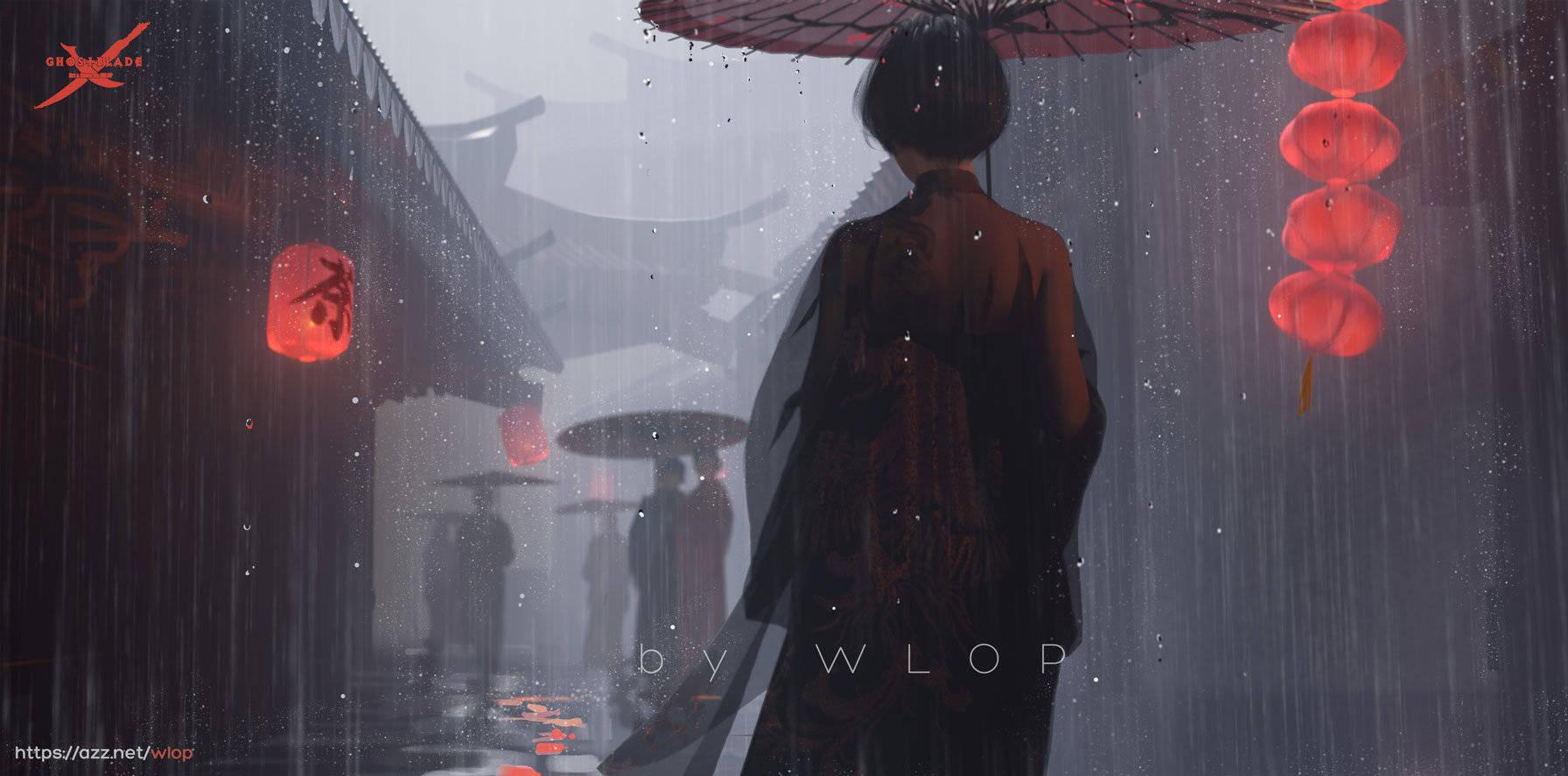 General 1792x887 WLOP Ghost + Blade anime girls umbrella lantern Japanese umbrella rain Asian architecture Ghostblade