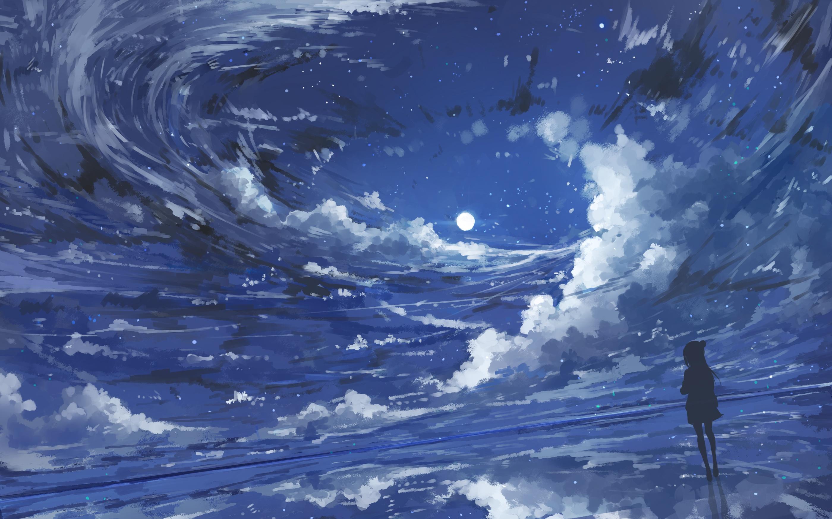 Anime 2800x1748 illustration children night Moon clouds painting digital art