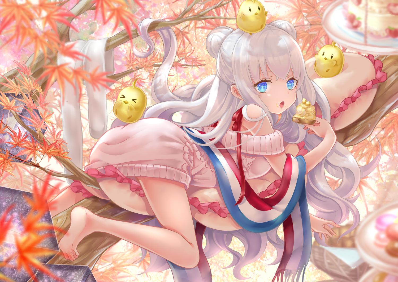 Anime 1500x1060 Azur Lane white hair long hair aqua eyes food loli barefoot pantyhose anime anime girls