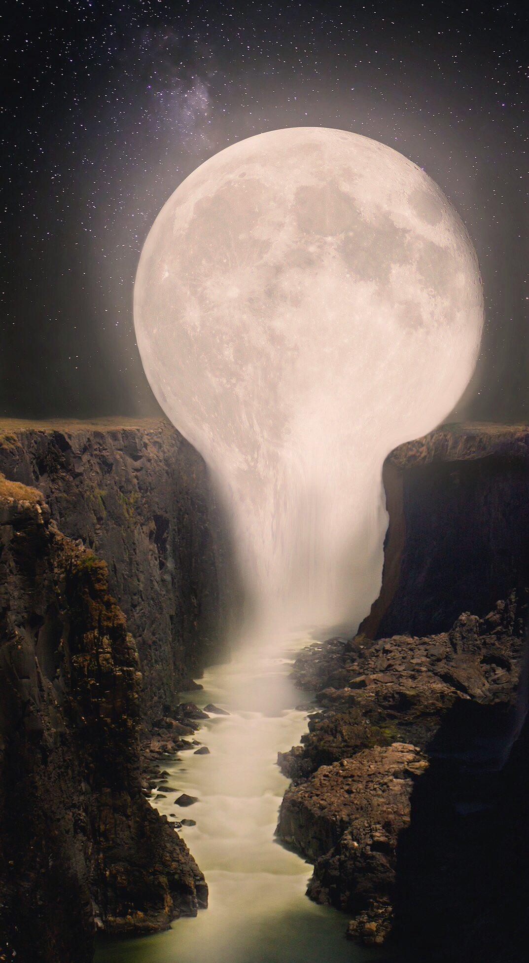 General 1073x1952 Moon waterfall fantasy art vertical surreal