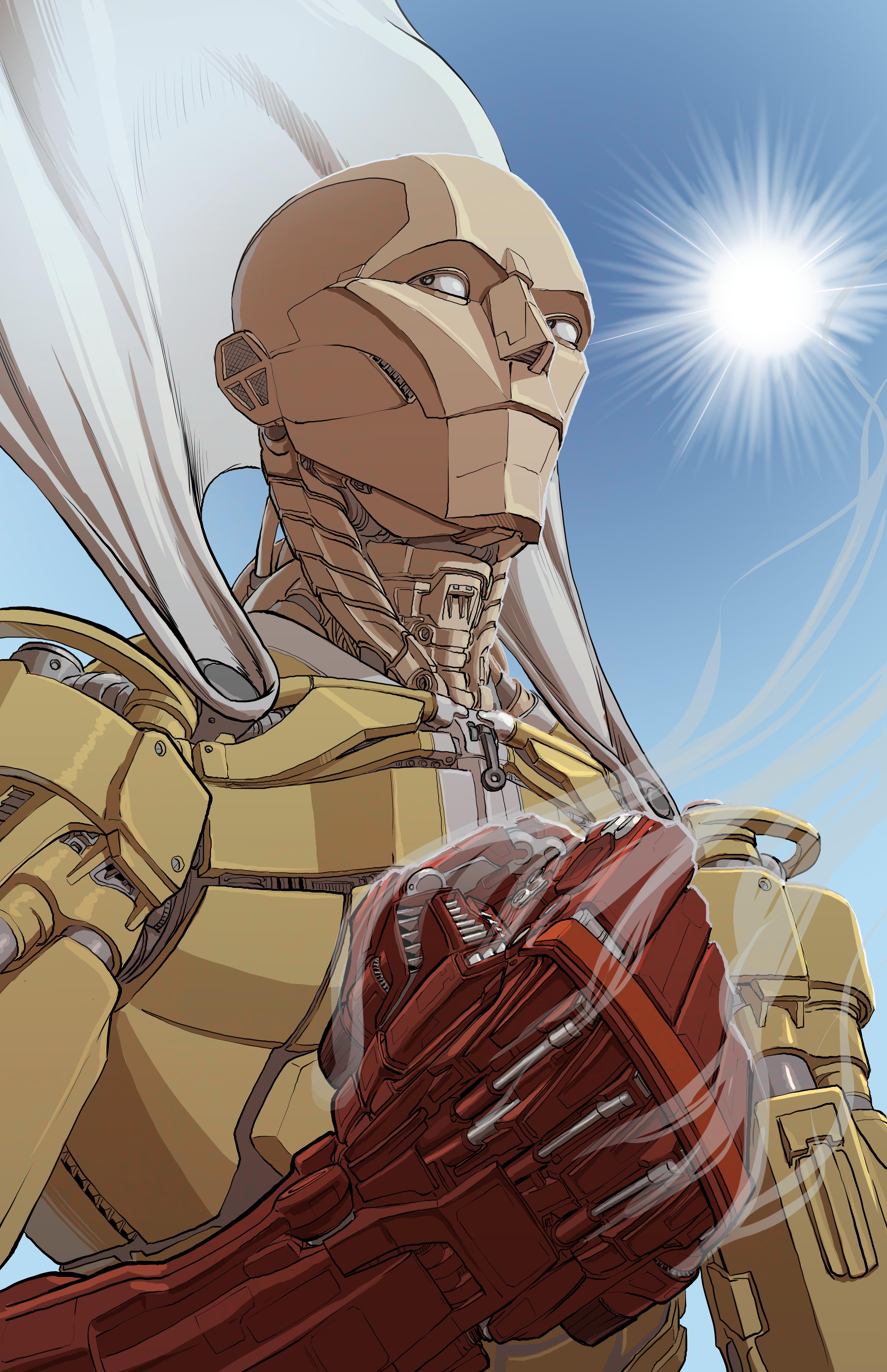 Saitama, One-Punch Man, robot, fan art, drawing, digital ...