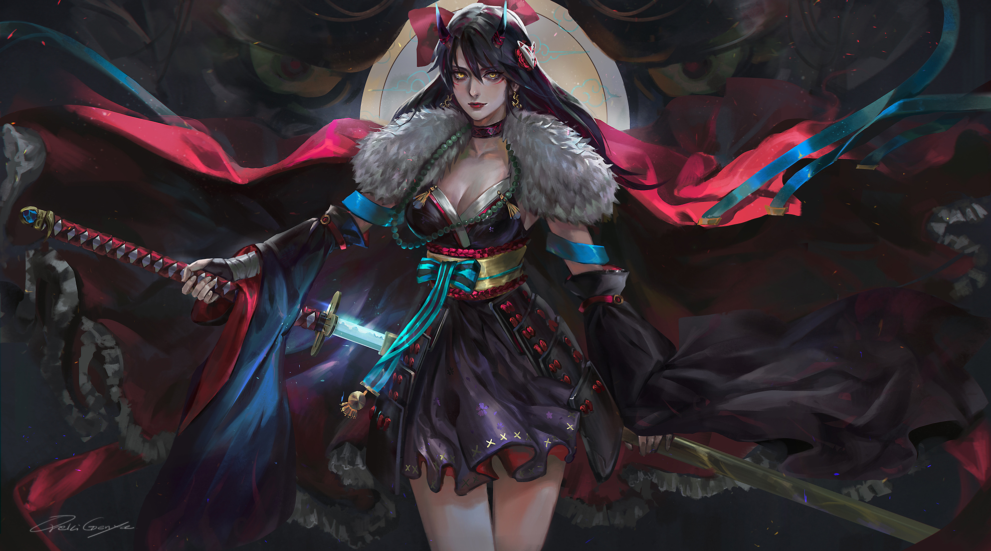 General 1977x1100 women fantasy girl demon girls horns long hair looking at viewer yellow eyes original characters cleavage cape armor samurai demon sword weapon fantasy art dress detached sleeves artwork drawing digital art illustration DeviantArt