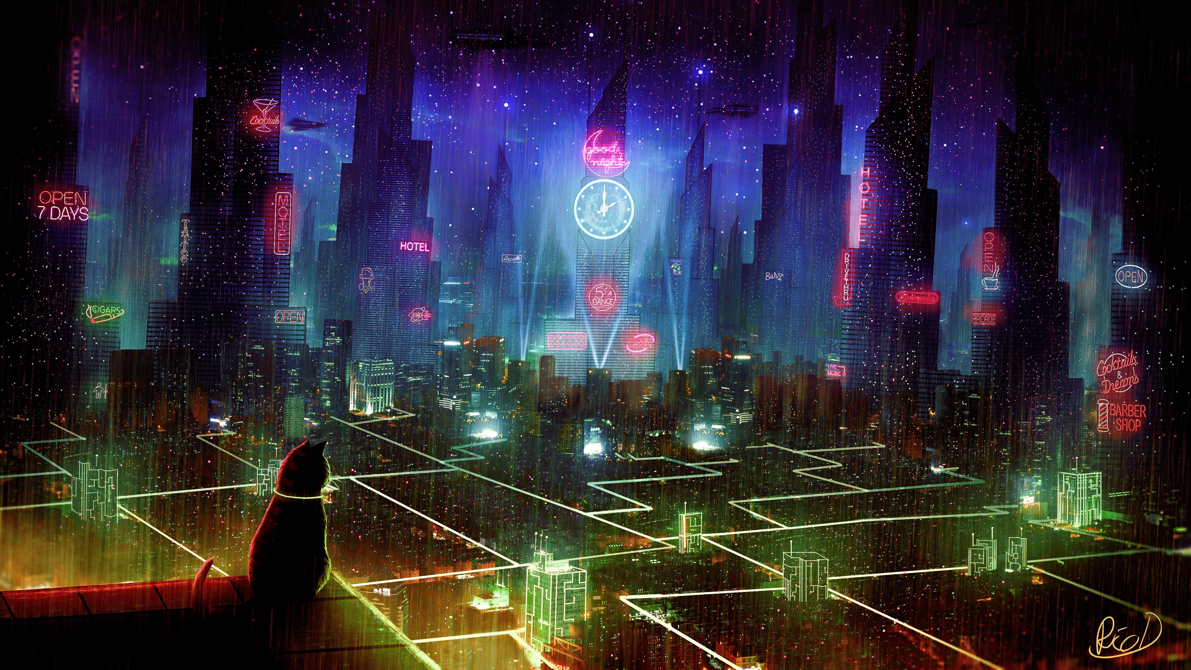 General 3840x2160 cyber science fiction digital art concept art cyberpunk artwork futuristic fantasy art fan art 3D PC gaming cityscape futuristic city CGI space spaceship Star Citizen ArtStation