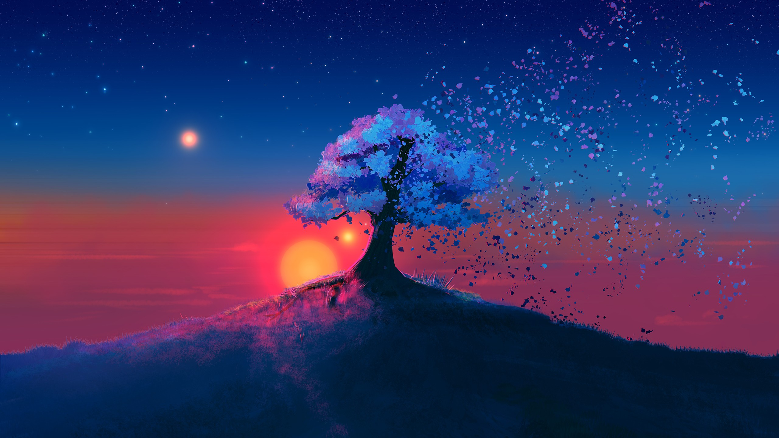 General 2560x1440 trees nature artwork digital art landscape sky stars JoeyJazz floating