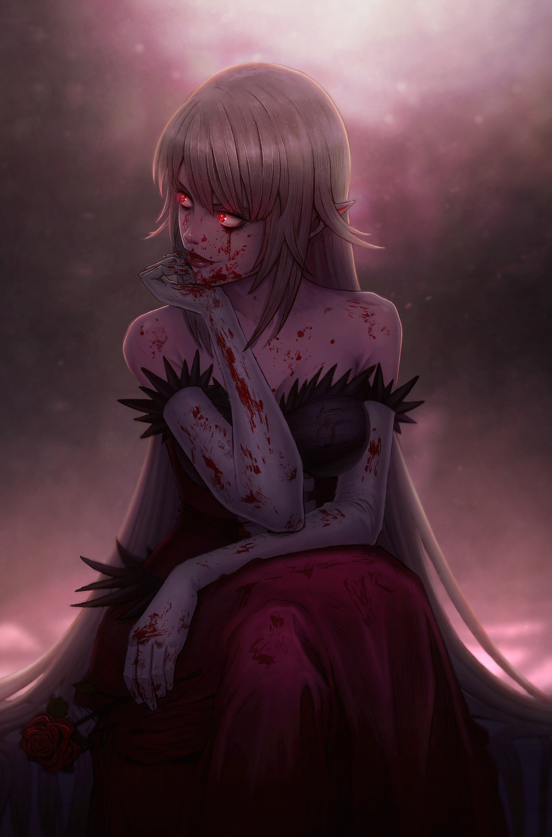 vampire (anime), bare shoulders, red eyes, long hair ...