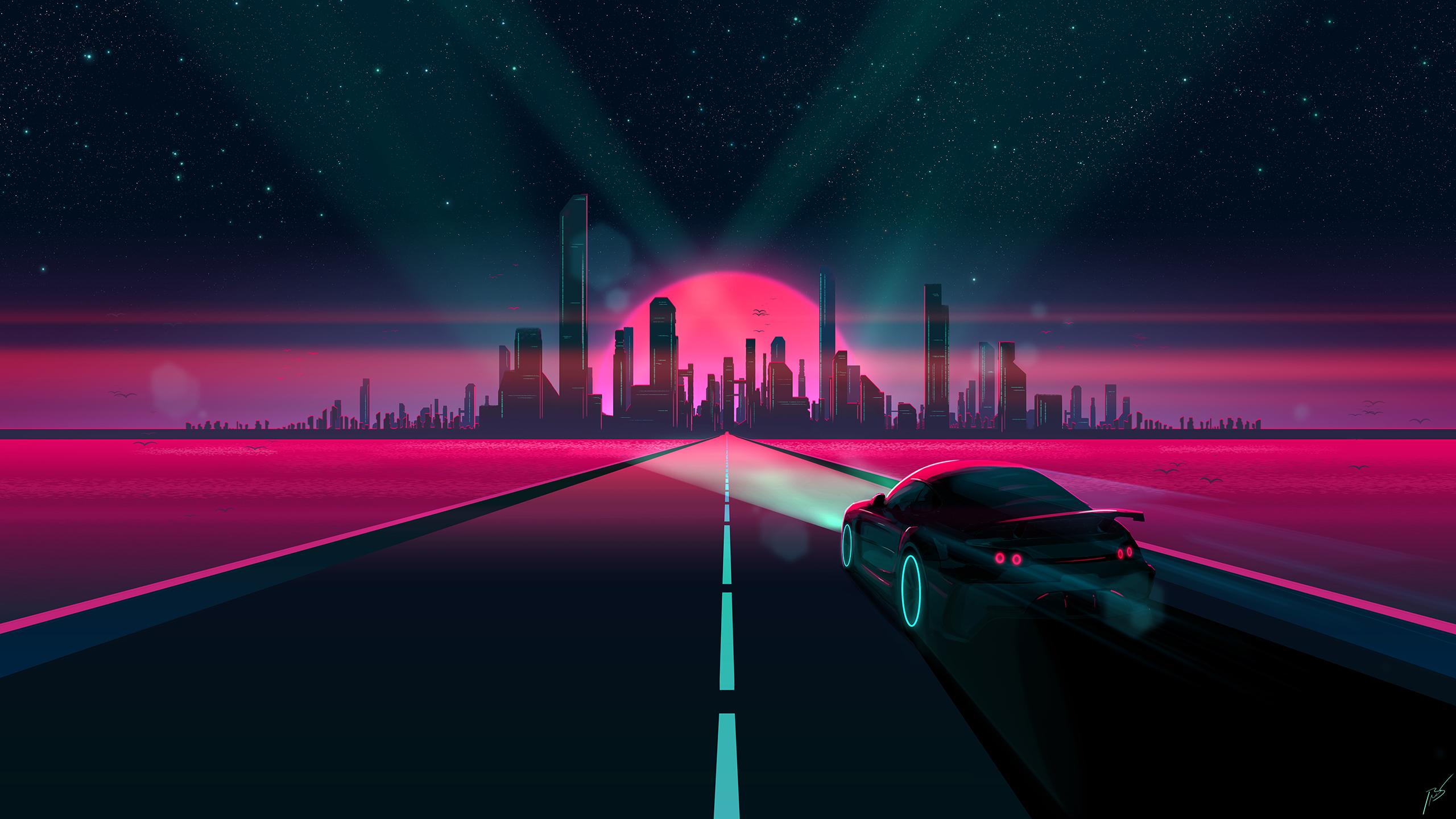 General 2560x1440 Retro style 1980s synthwave futuristic science fiction digital art JoeyJazz pastel