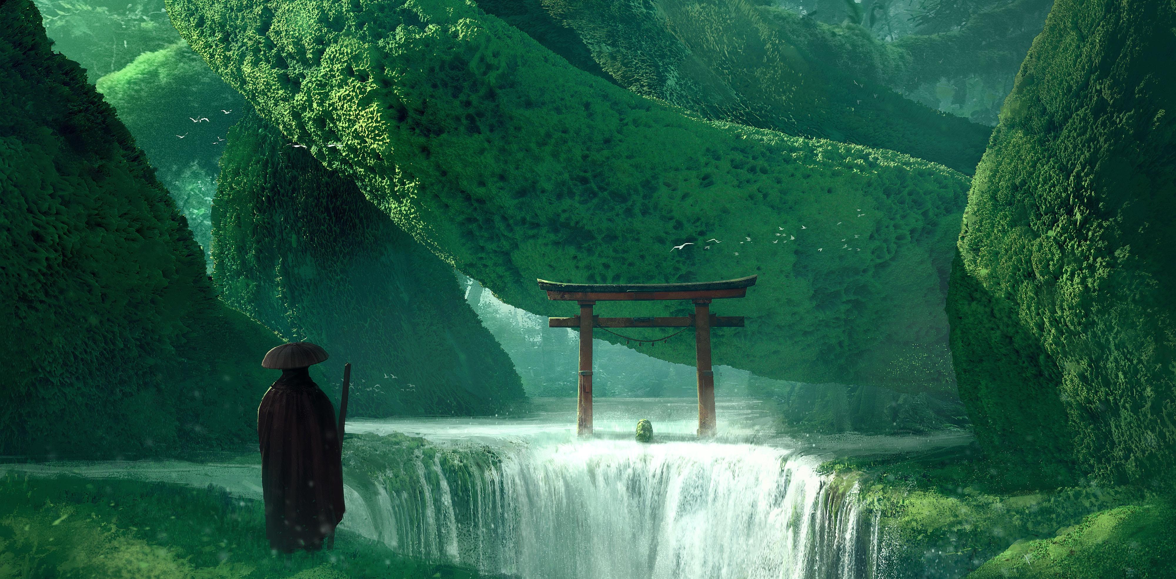 General 4000x1971 Asia nature artwork waterfall fantasy art torii green