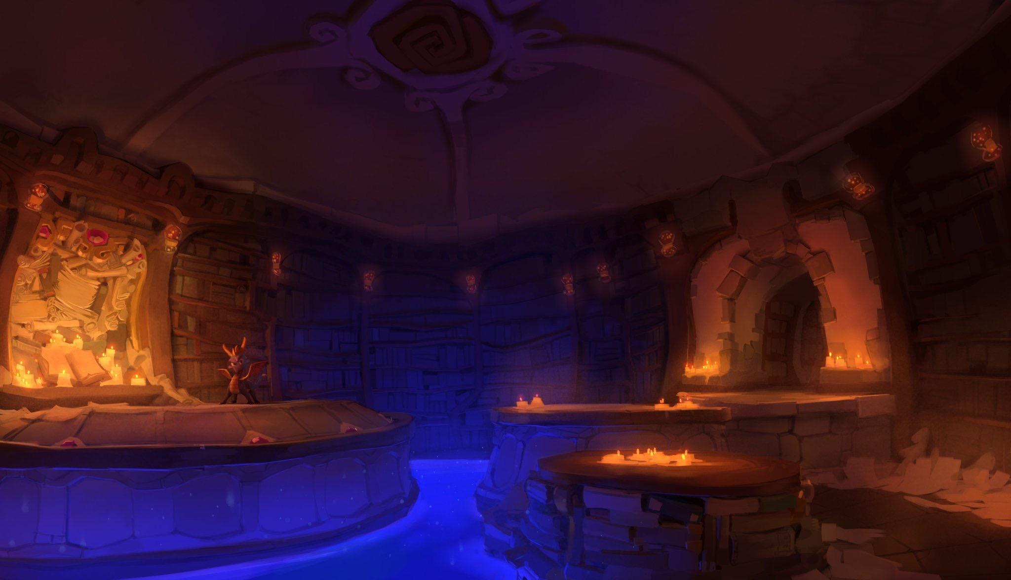 General 2048x1176 Spyro library books bookshelves video games concept art candles dragon Insomniac Games