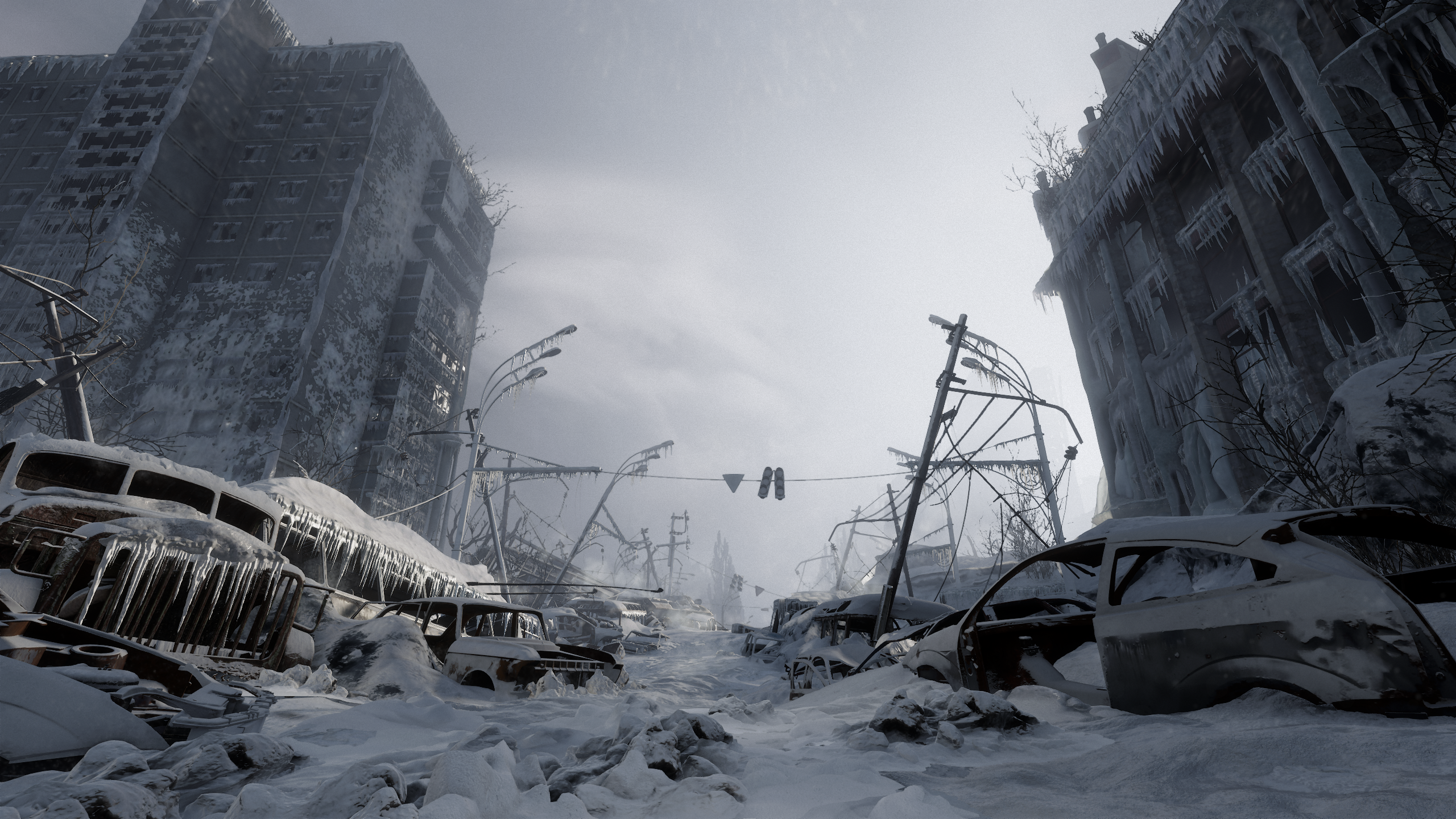 General 2560x1440 Metro Exodus RTX snow video games apocalyptic wreck