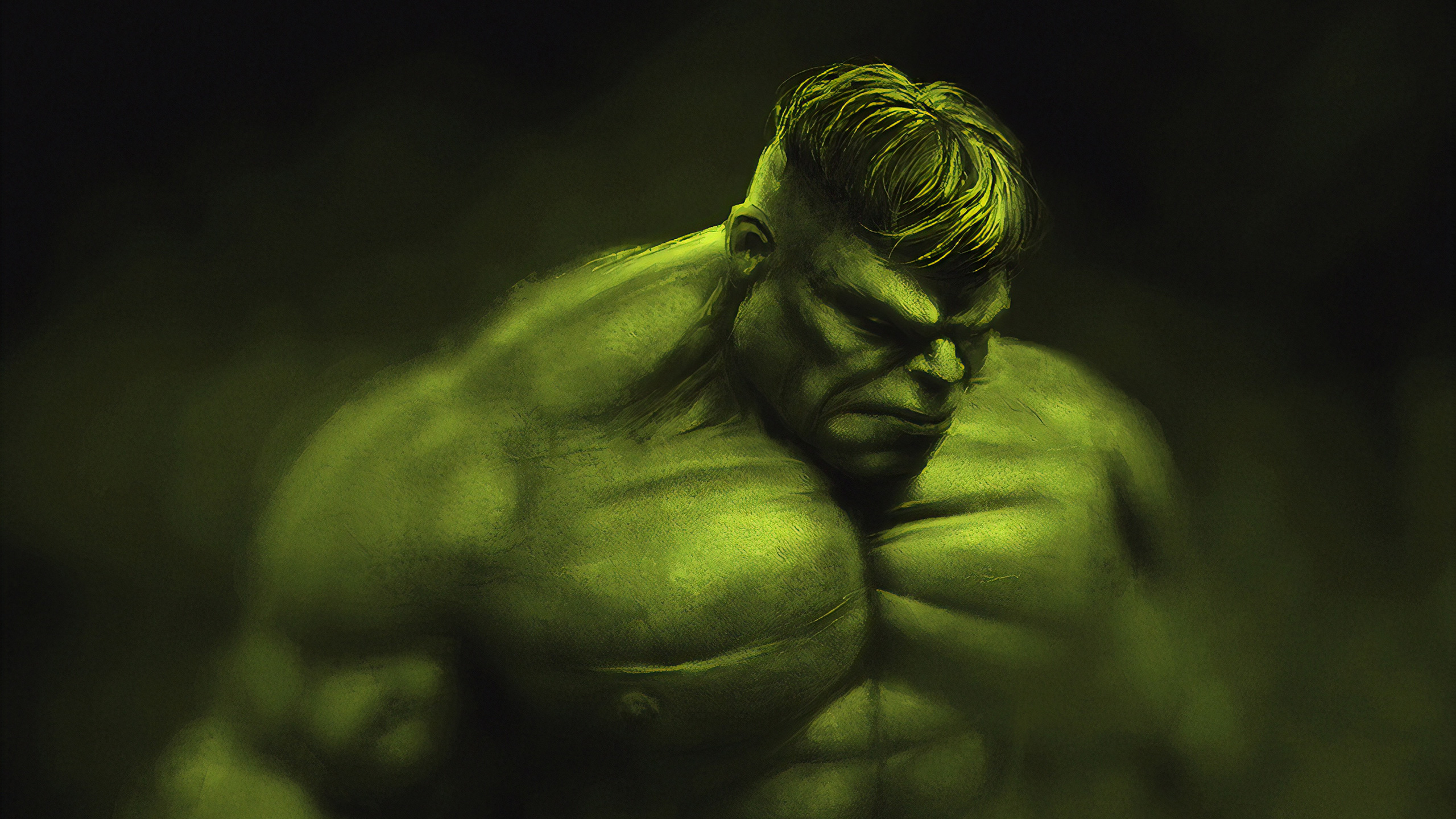 General 2560x1440 digital digital art artwork illustration Hulk Bruce Banner Marvel Comics Marvel Cinematic Universe The Avengers green dark fictional fictional character superhero fan art
