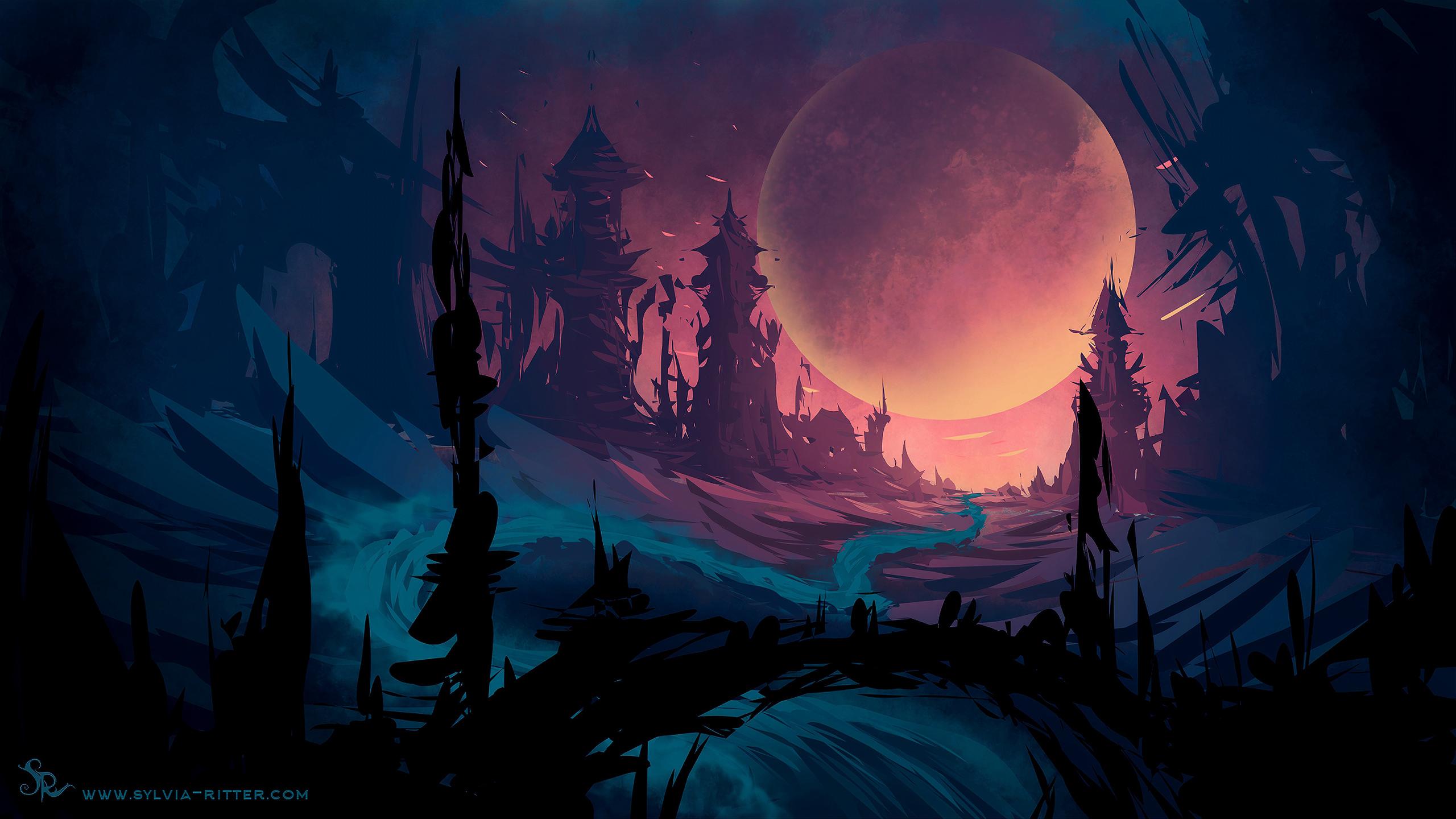 General 2560x1440 digital digital art artwork illustration drawing painting digital painting landscape dark planet fantasy art science fiction sky calm krita wood apocalyptic ruin ruins watermarked
