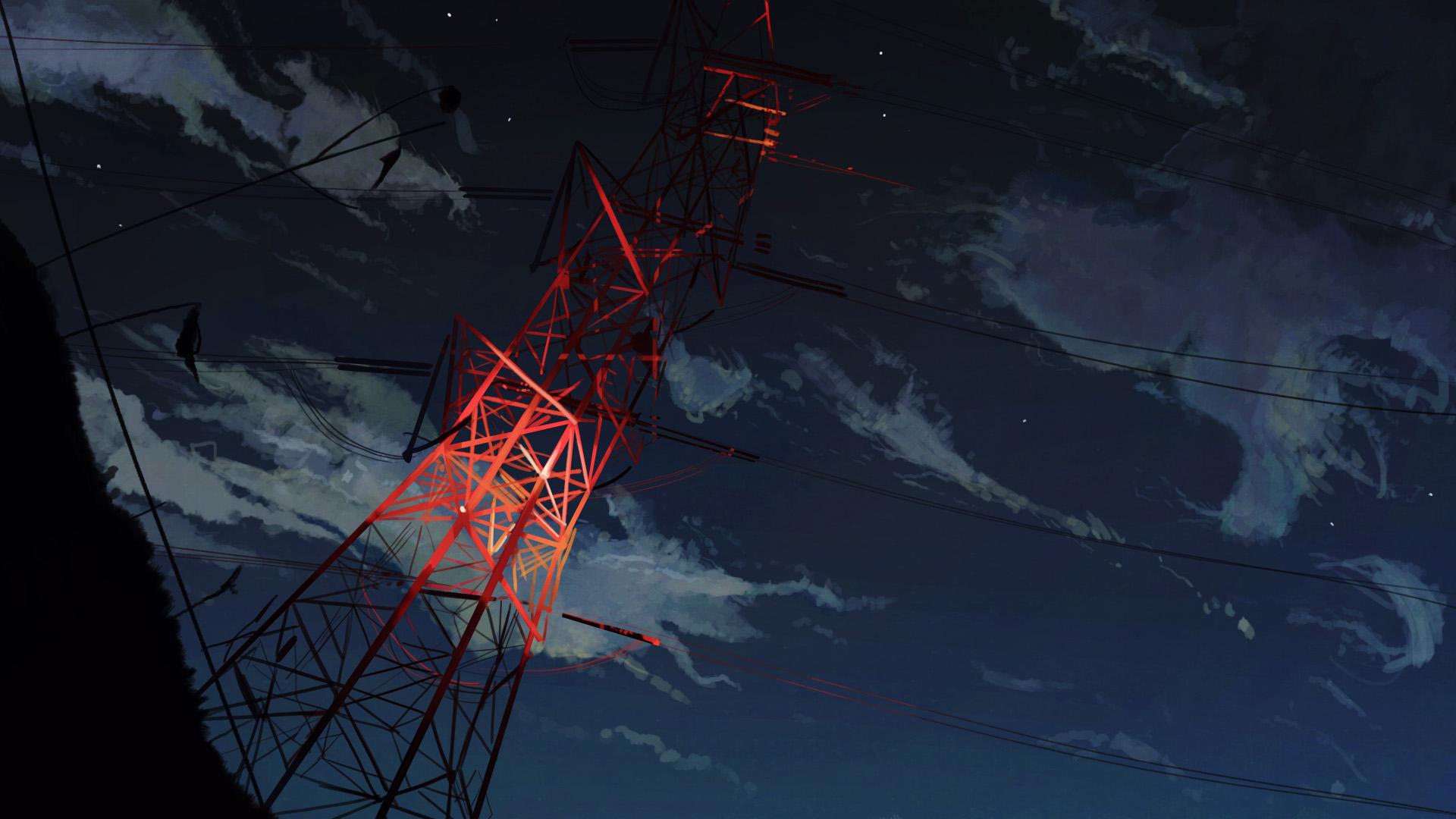 Anime 1920x1080 anime power lines sky clouds outdoors