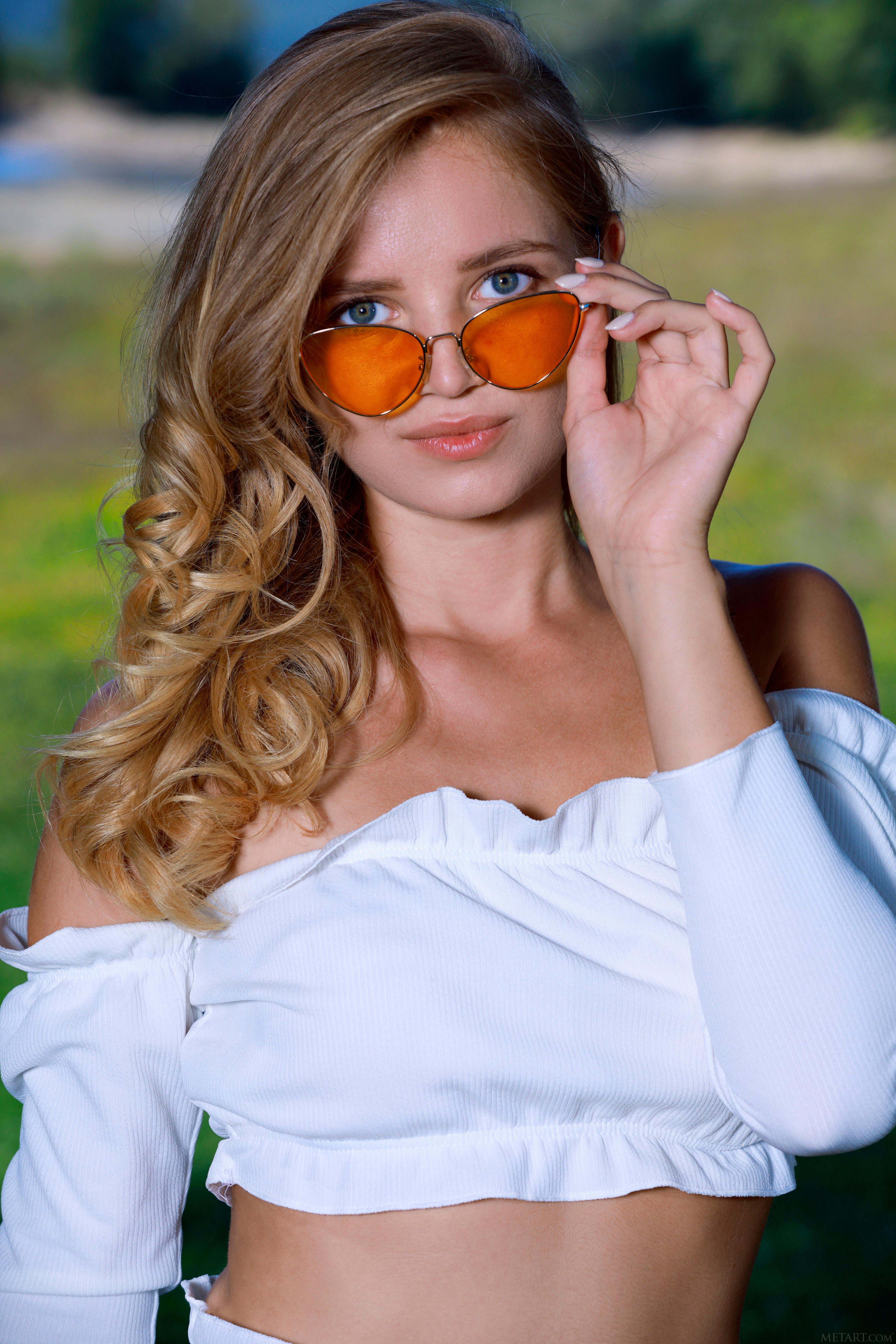 People 4480x6720 Gabriella women blonde long hair nature field grass plants trees blouse sunglasses blue eyes Met-Art MetArt Magazine