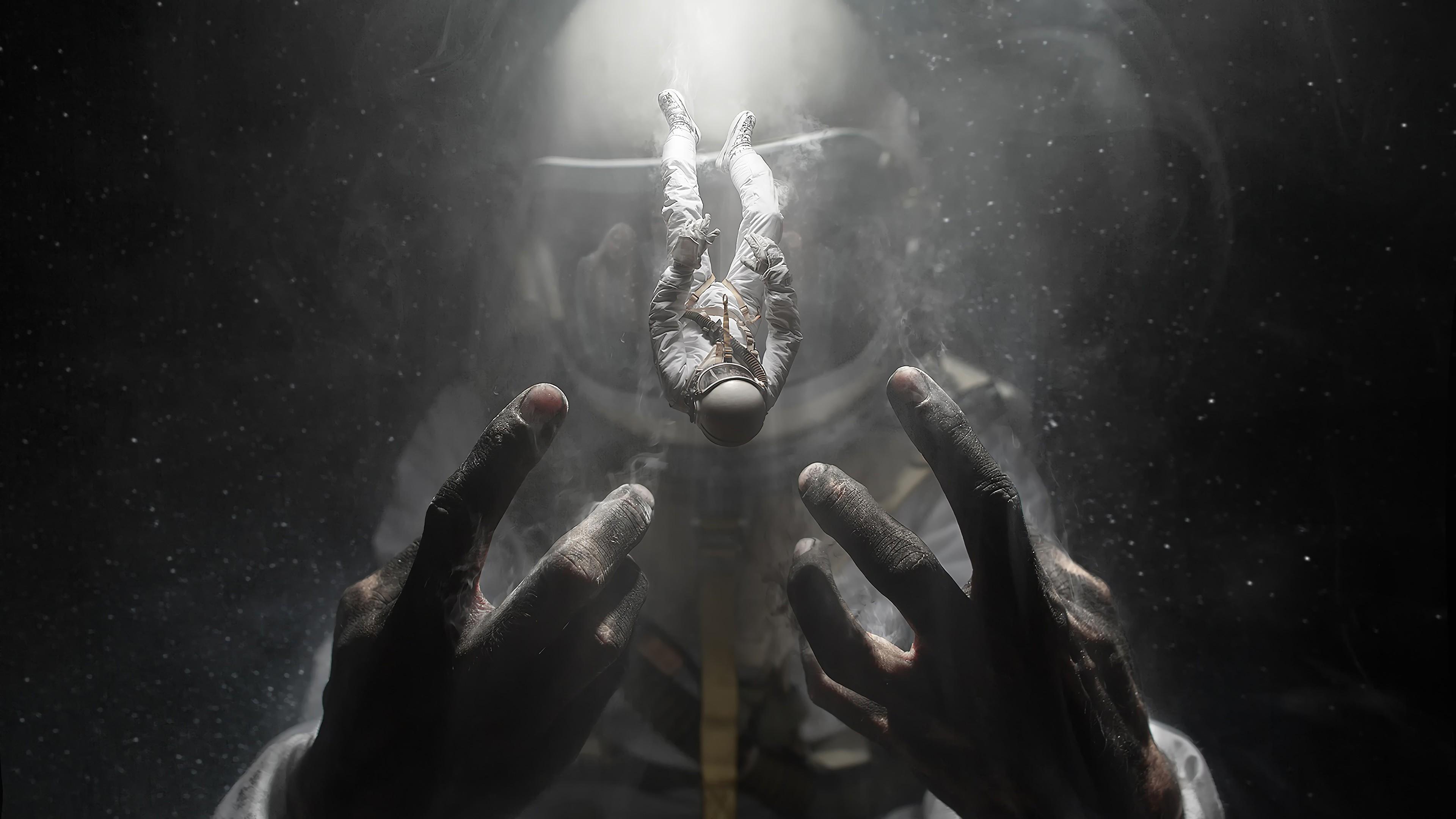 General 3840x2160 digital digital art artwork fantasy art astronaut spacesuit space space art giant fictional people falling dark lights hands environment concept art