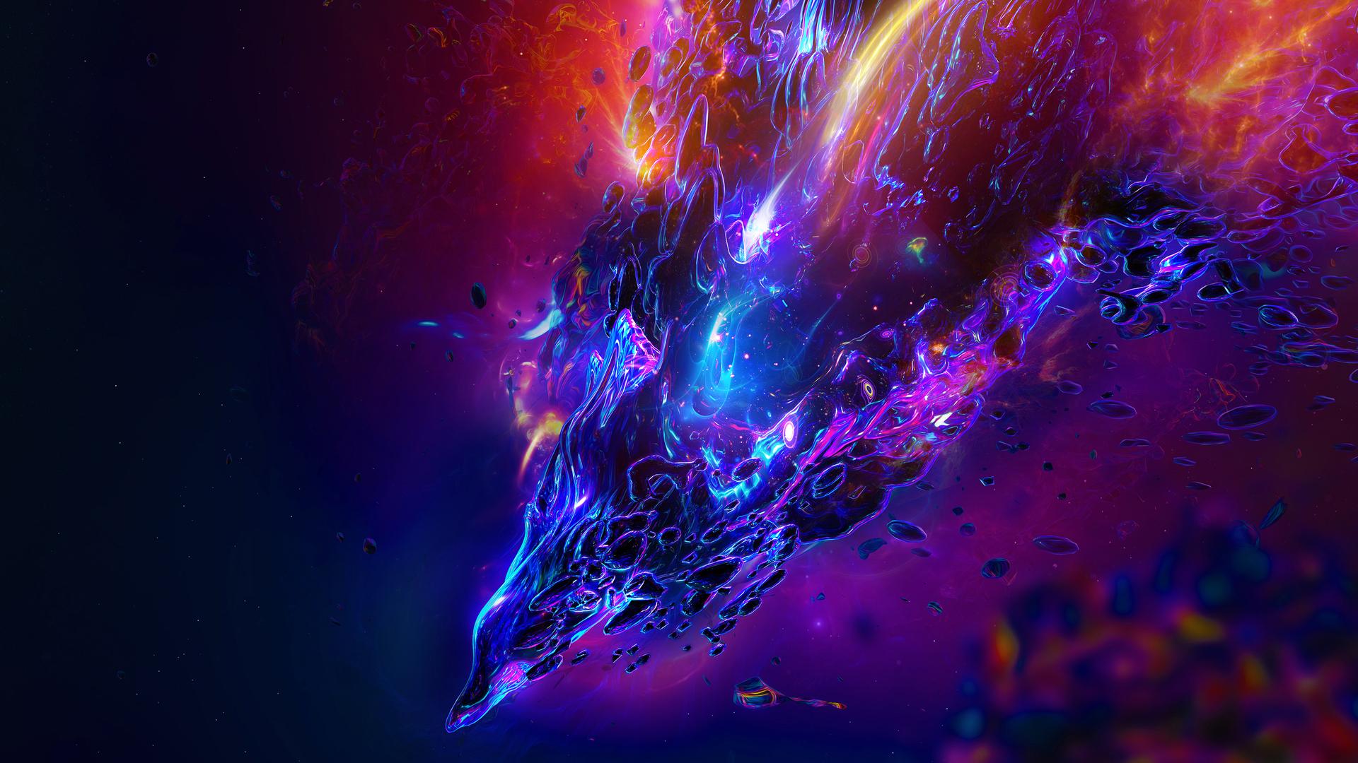 General 1920x1080 Color Burst abstract digital art render colorful shapes