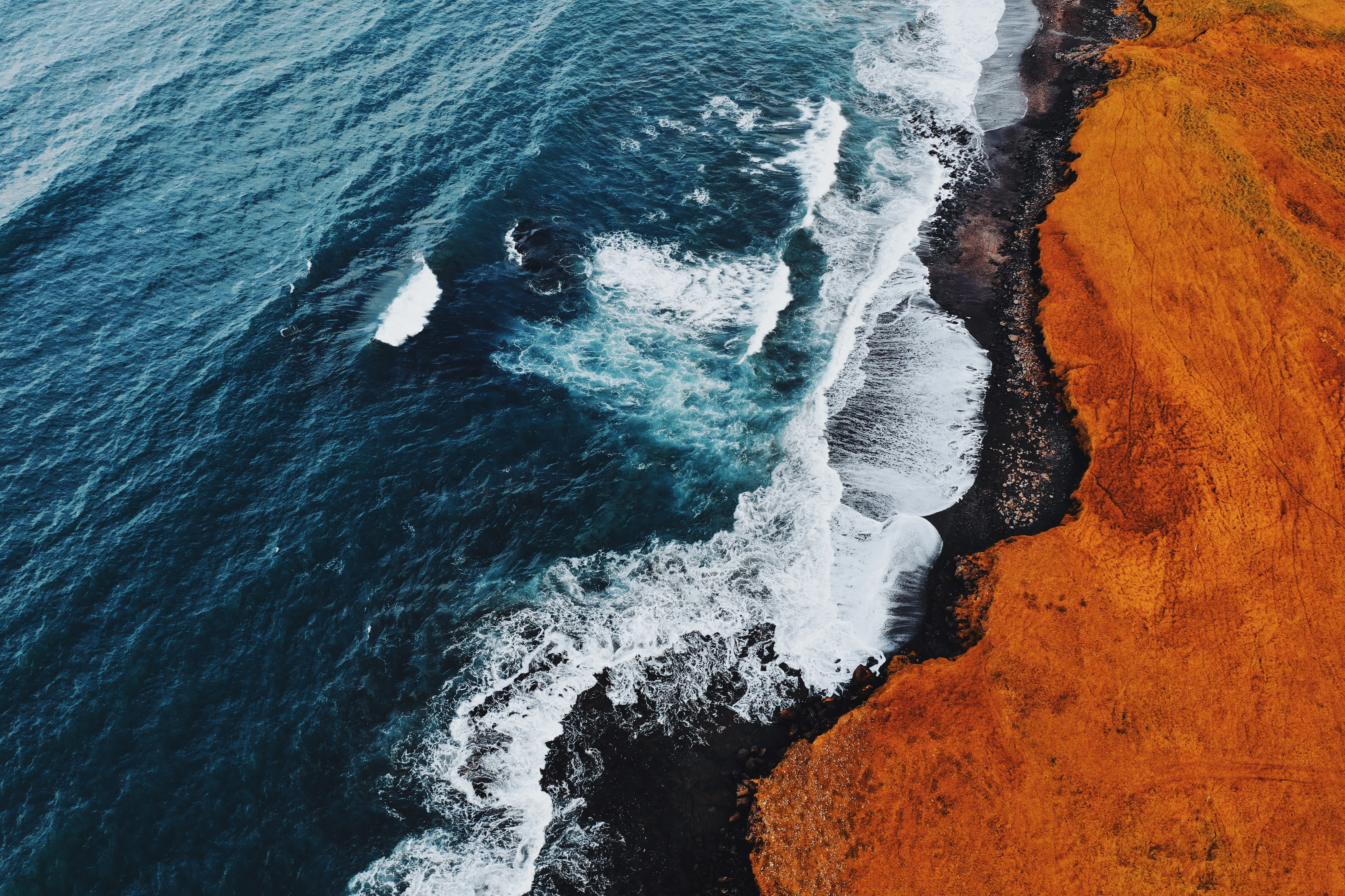 General 5472x3648 nature water aerial view coast sea waves