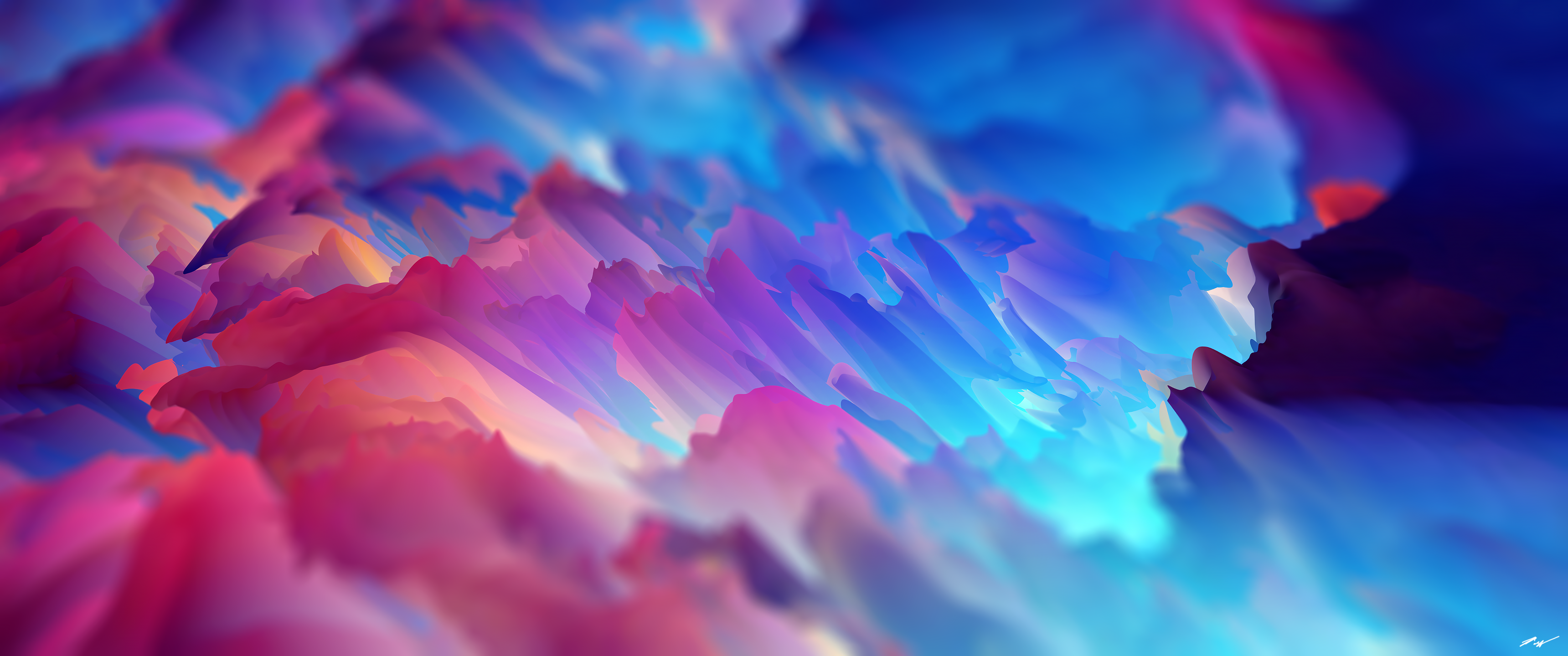 General 3440x1440 dreamscape space abstract 3D Abstract Cinema 4D colorful cyan pink
