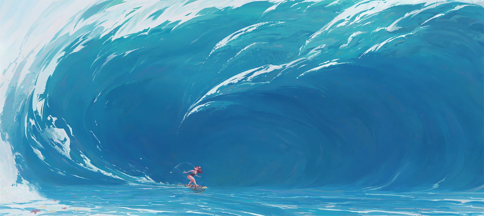 General 1920x857 Slawek Fedorczuk concept art sea waves foam women turtle water giant surfing blue