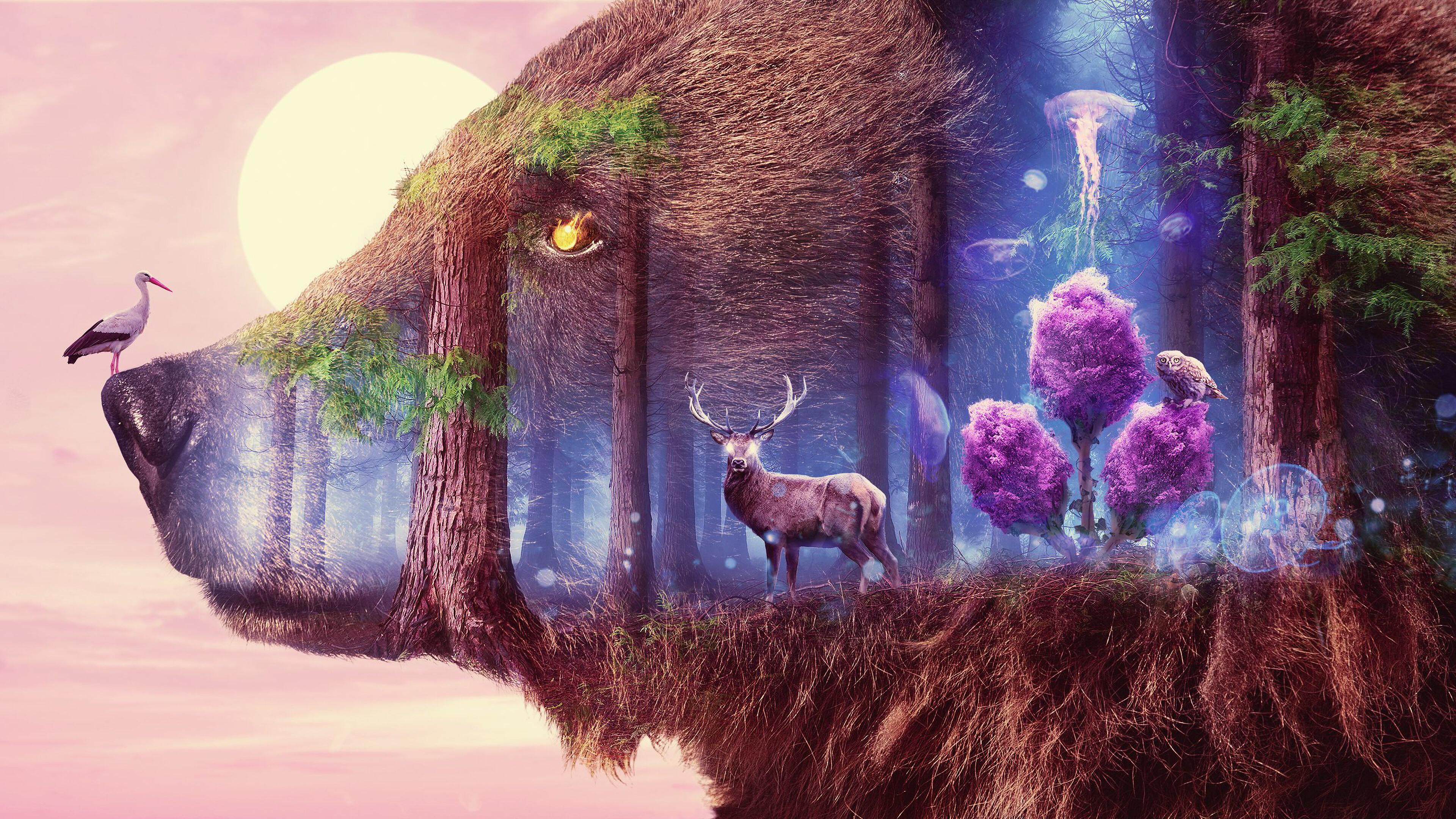 General 3840x2160 digital digital art artwork illustration nature trees forest fantasy art animals deer wolf lights landscape owl jellyfish