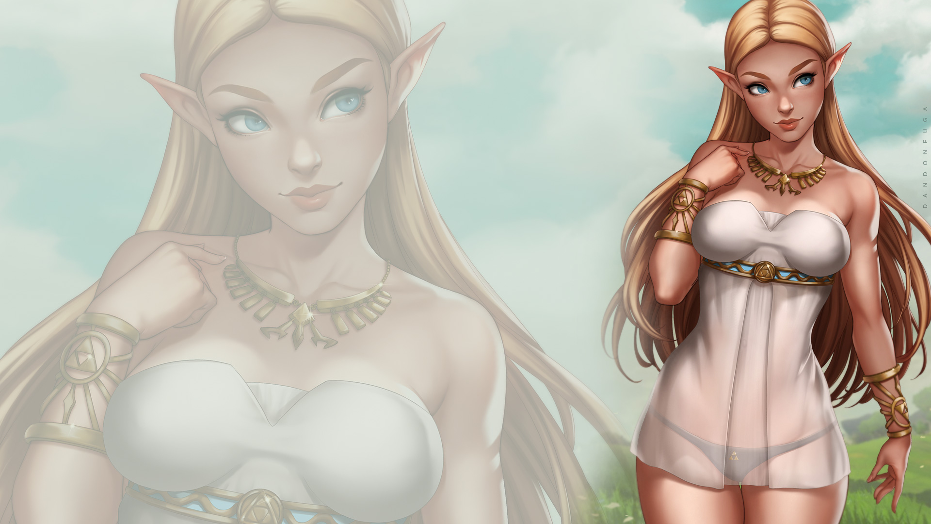 General 1920x1080 dandon fuga The Legend of Zelda Princess Zelda Zelda blue eyes Triforce
