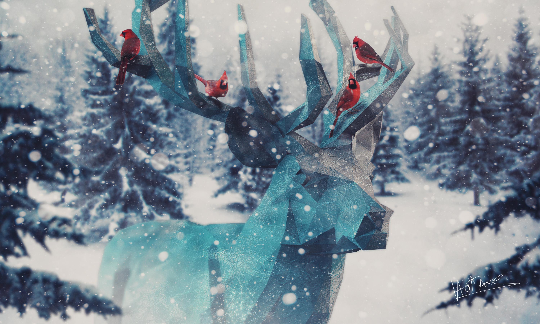 General 3000x1800 snow deer birds pine trees snowing cyan polygon art
