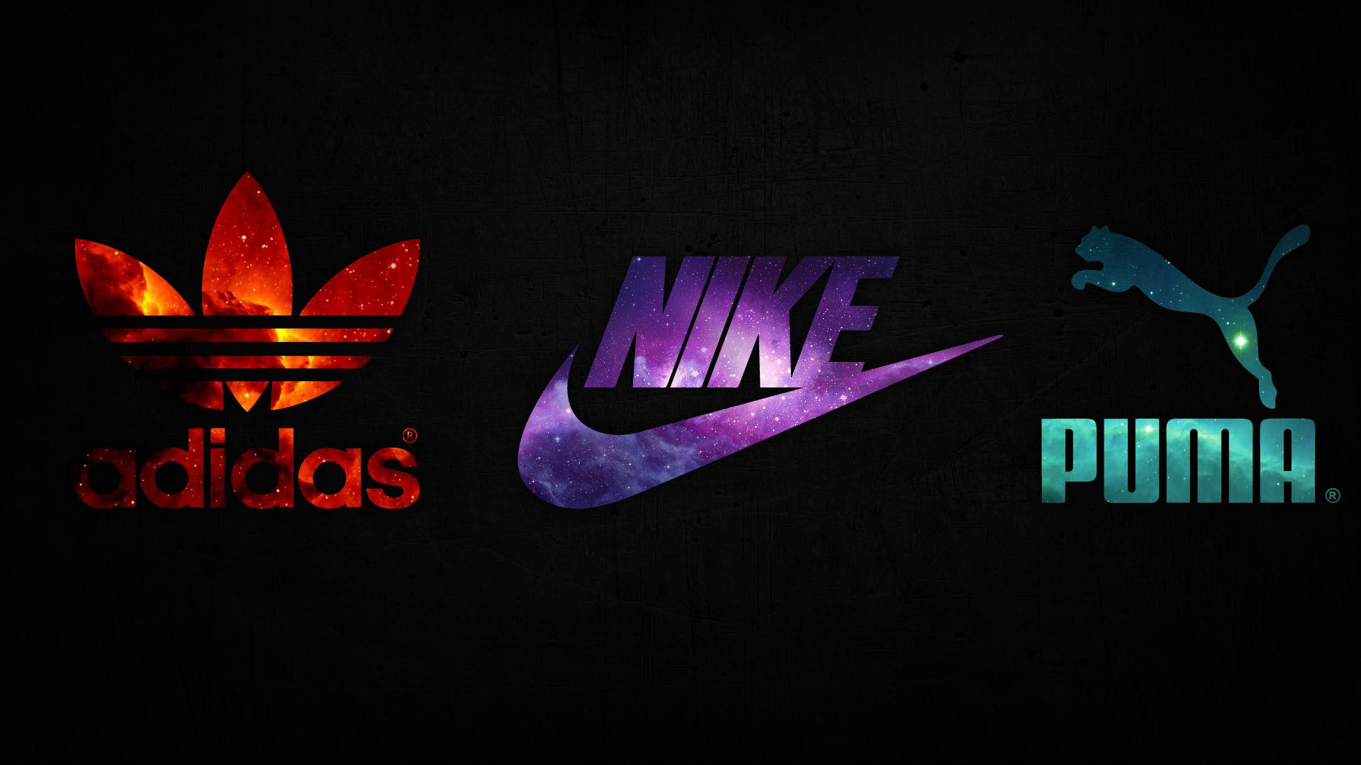 General 1920x1080 Nike Adidas Puma space logo red purple turquoise black background