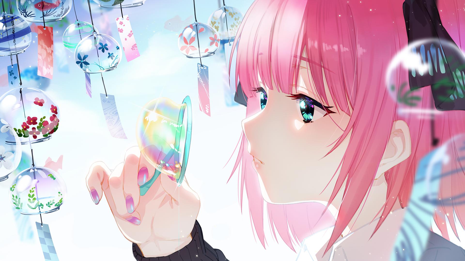 Anime 1920x1080 anime anime girls Nakano Nino aqua eyes pink hair pink nails bubbles 5-toubun no Hanayome Zhanzheng Zi