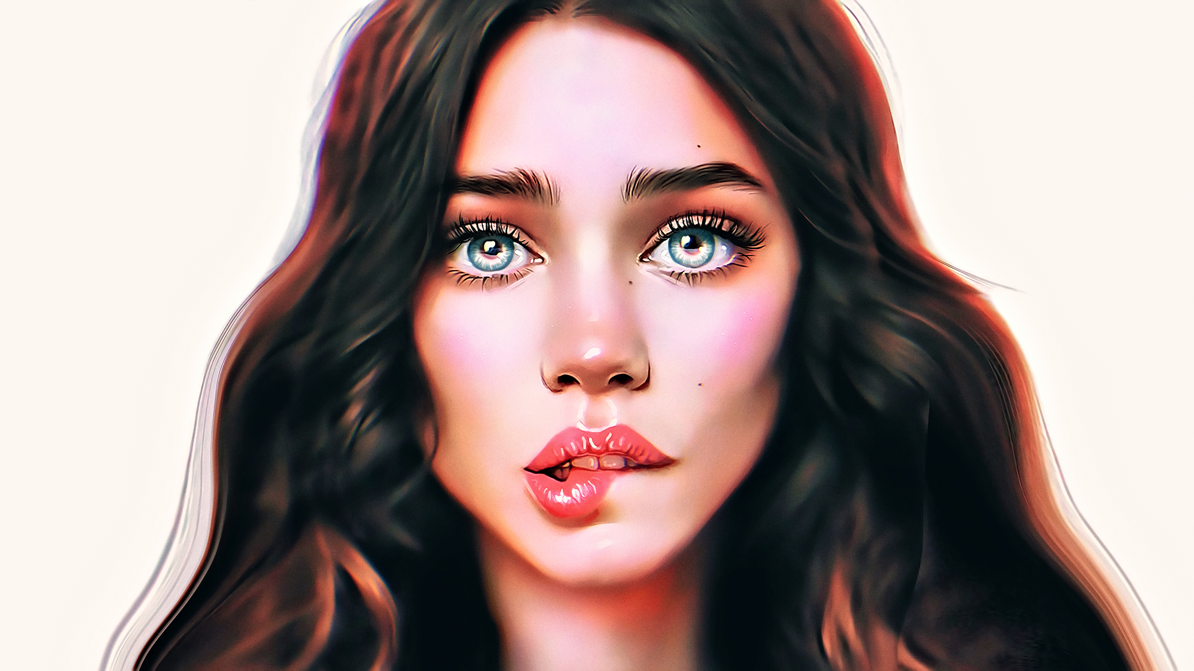 General 3840x2160 women portrait people face science fiction digital art concept art artwork fantasy art fan art CGI fantasy girl painting closeup hair in face realistic Photoshop blue eyes frontal view long hair white background red lipstick simple background biting lip