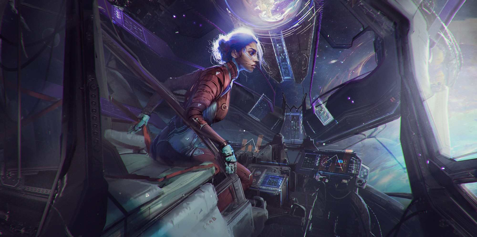 General 2000x994 Magdalena Radziej digital art science fiction spaceship cockpit profile space suit women sitting pilot space gloves tattoo alone