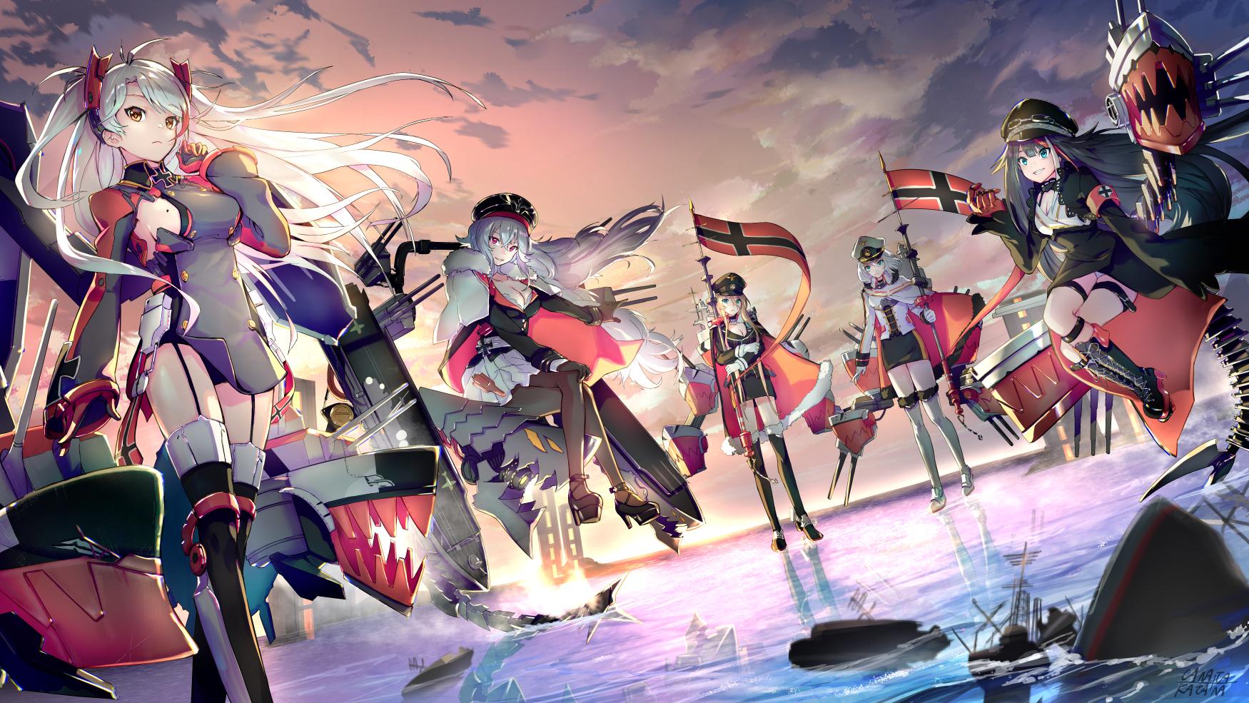 Anime 1750x985 Azur Lane Bismarck (Azur Lane) Deutschland (Azur Lane) Graf Zeppelin (Azur Lane) Prinz Eugen (Azur Lane) Tirpitz (Azur Lane) colorful anthropomorphism group of women anime girls anime