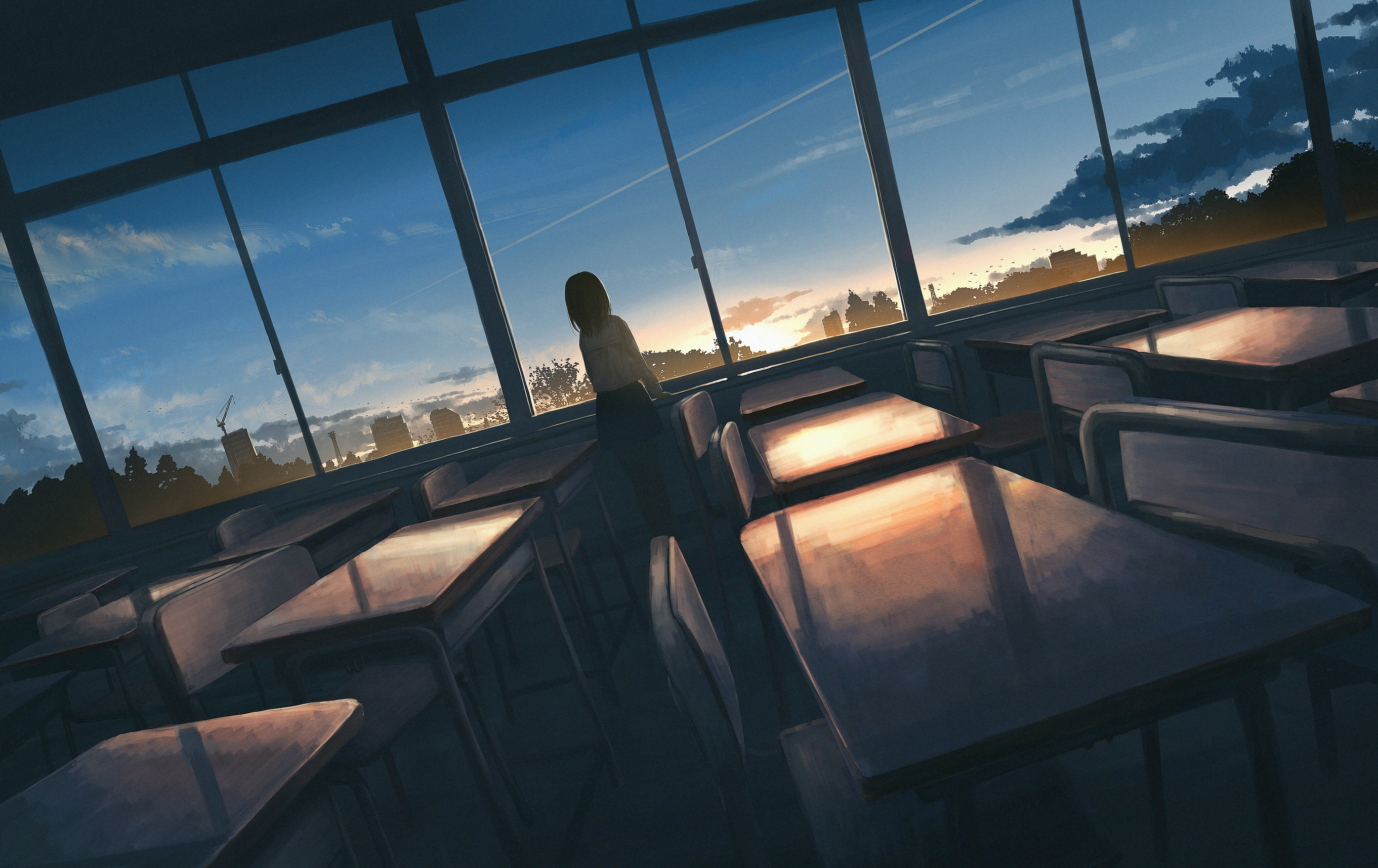 Anime 2723x1716 anime city digital art artwork moescape schoolgirl clouds sunset