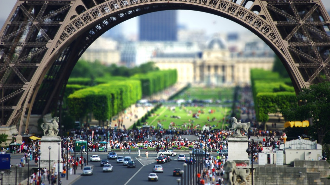 General 1366x768 Eiffel Tower France tilt shift Paris cityscape