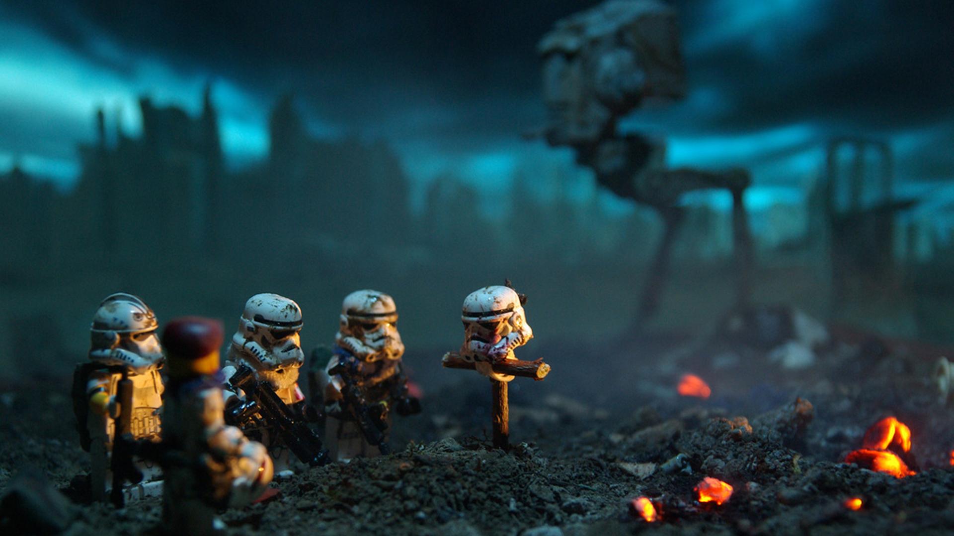 General 1920x1080 miniatures depth of field Battlefield stormtrooper toys dark AT-ST humor blue AT-ST Walker